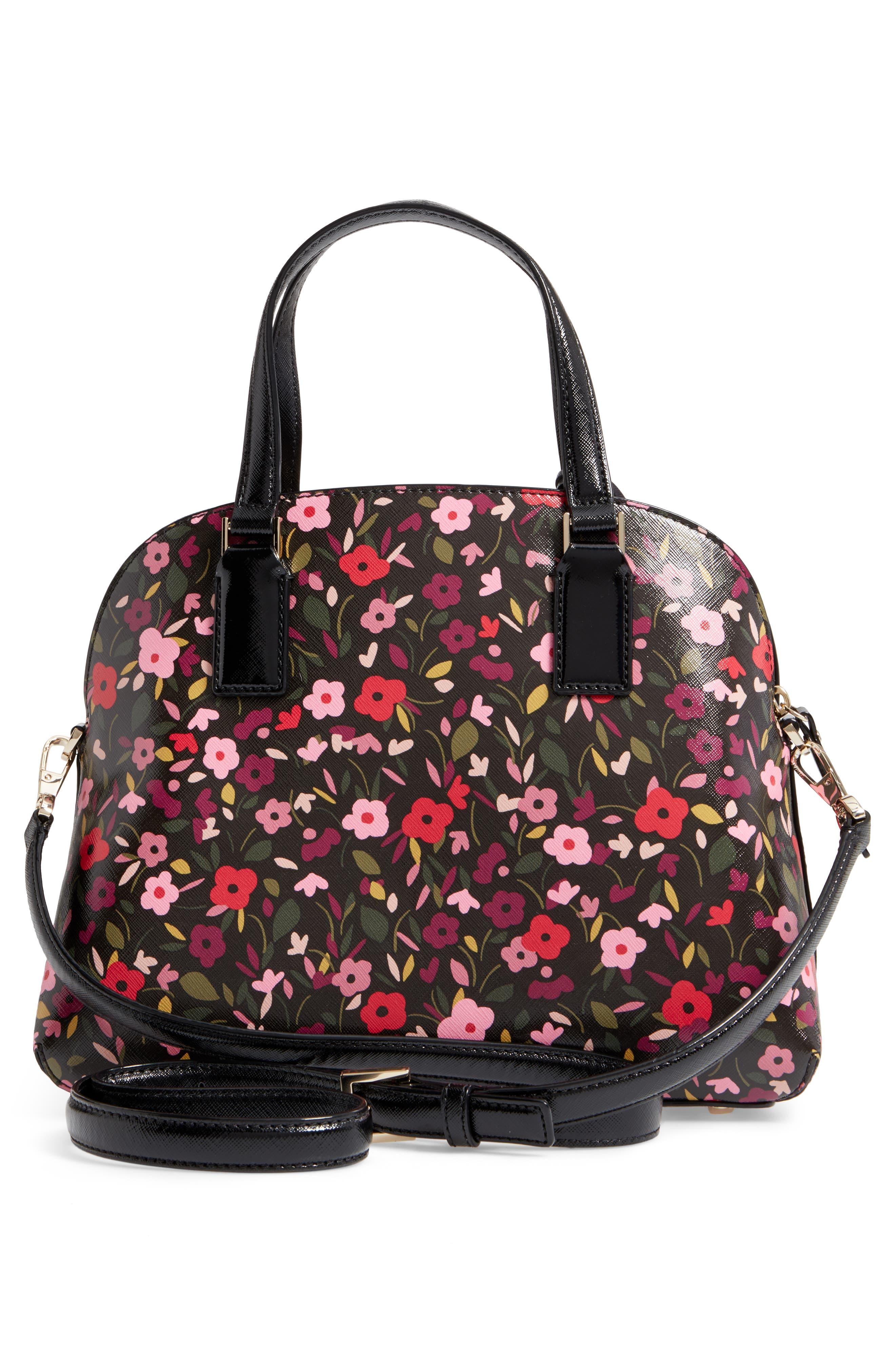 cameron street boho floral- lottie leather satchel,                             Alternate thumbnail 3, color,                             001