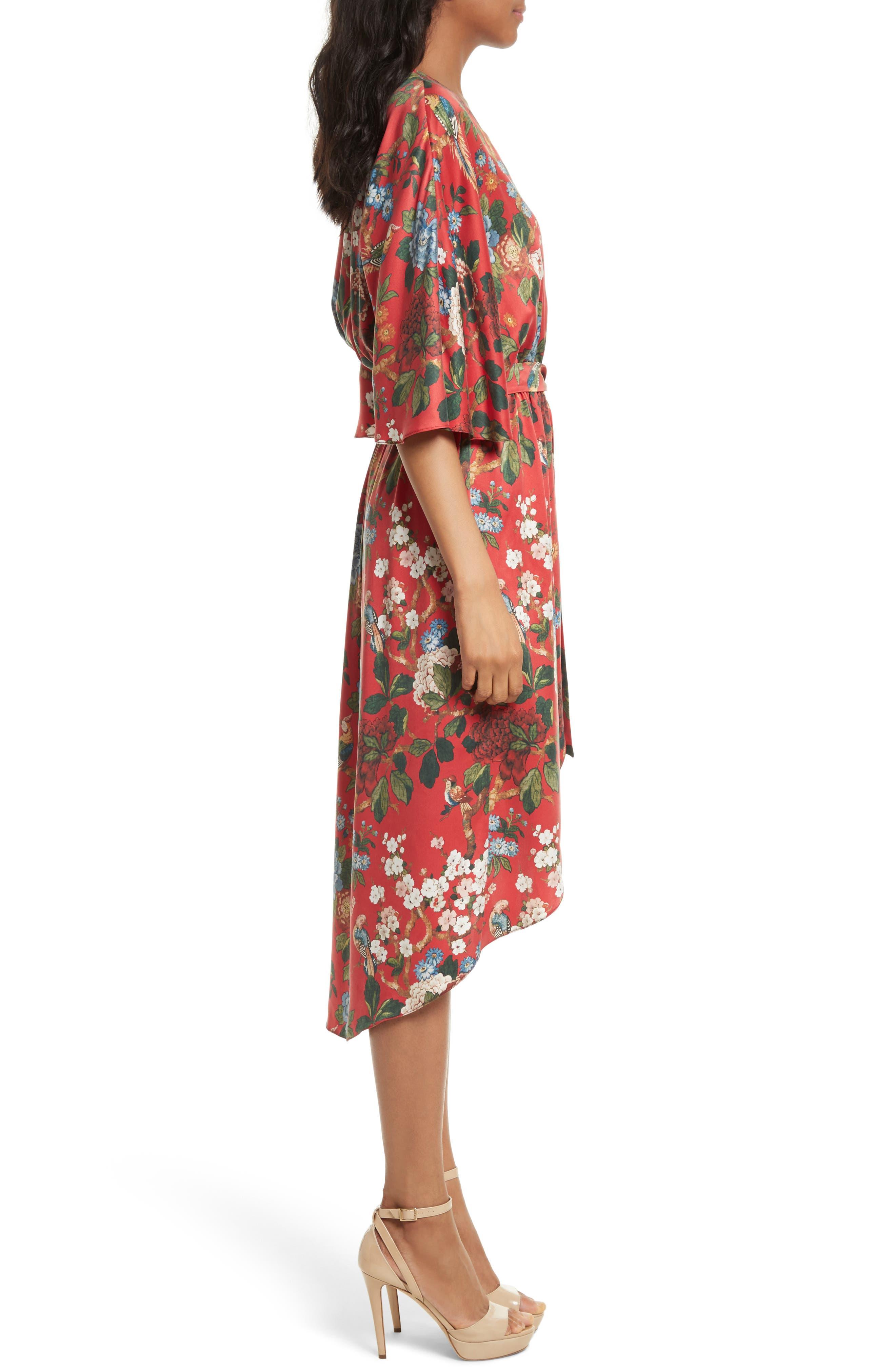 Clarine Floral Silk Wrap Dress,                             Alternate thumbnail 3, color,                             647