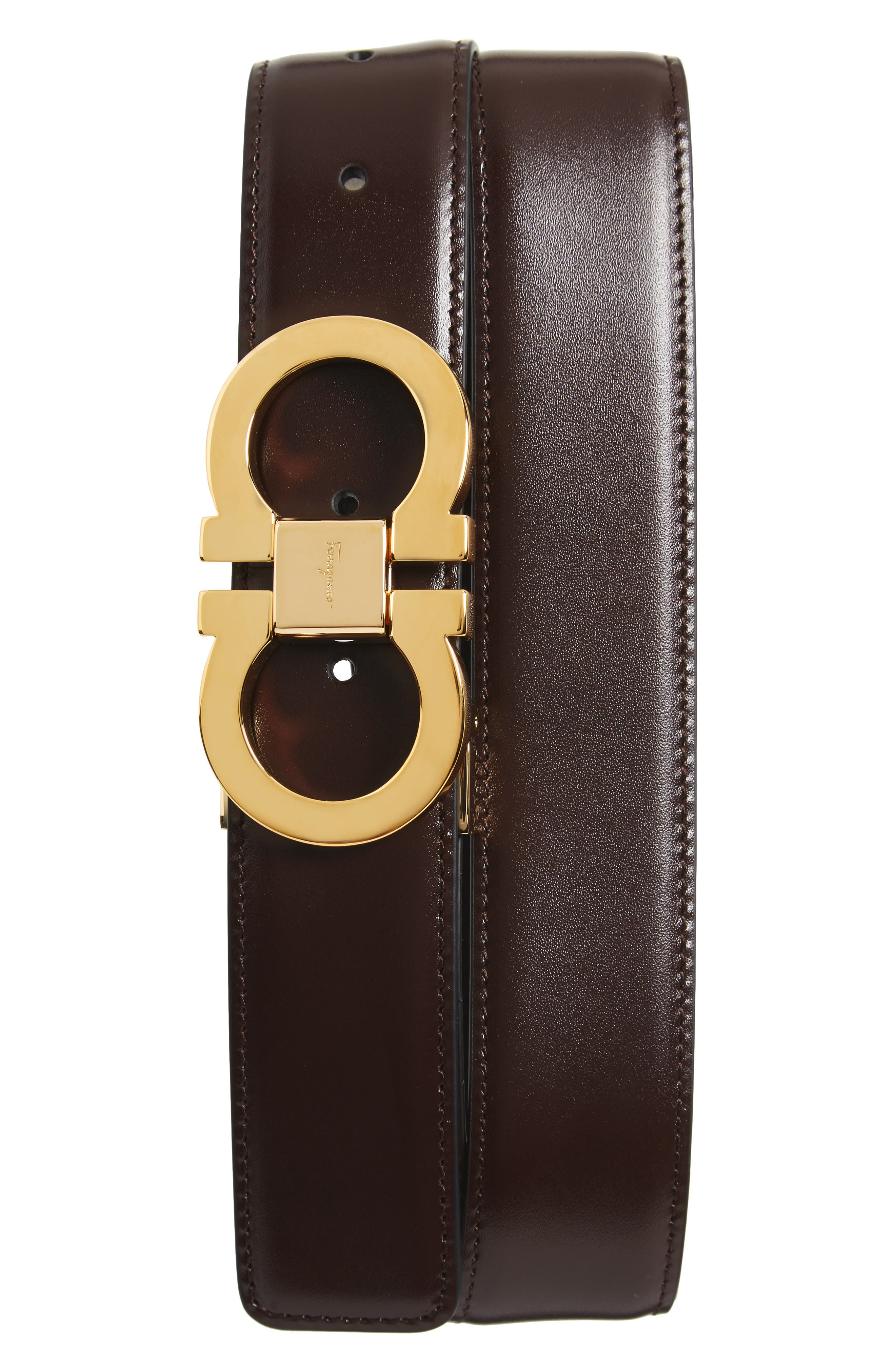 Double Gancini Leather Belt,                         Main,                         color, AUBURN/ BLACK