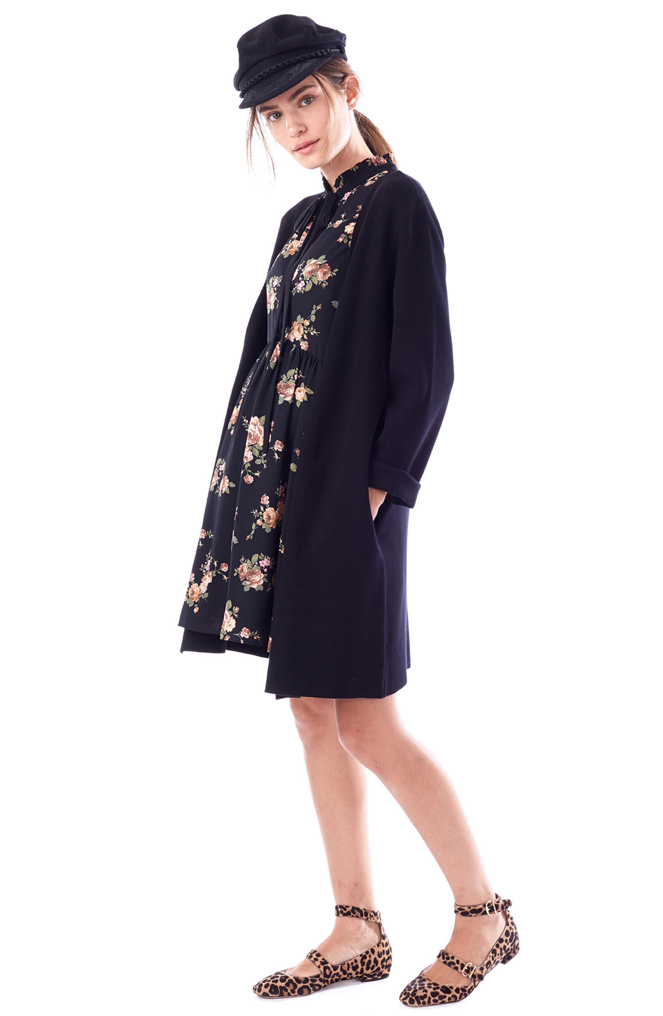 Olivia Maternity Sweater Jacket,                             Alternate thumbnail 4, color,                             BLACK