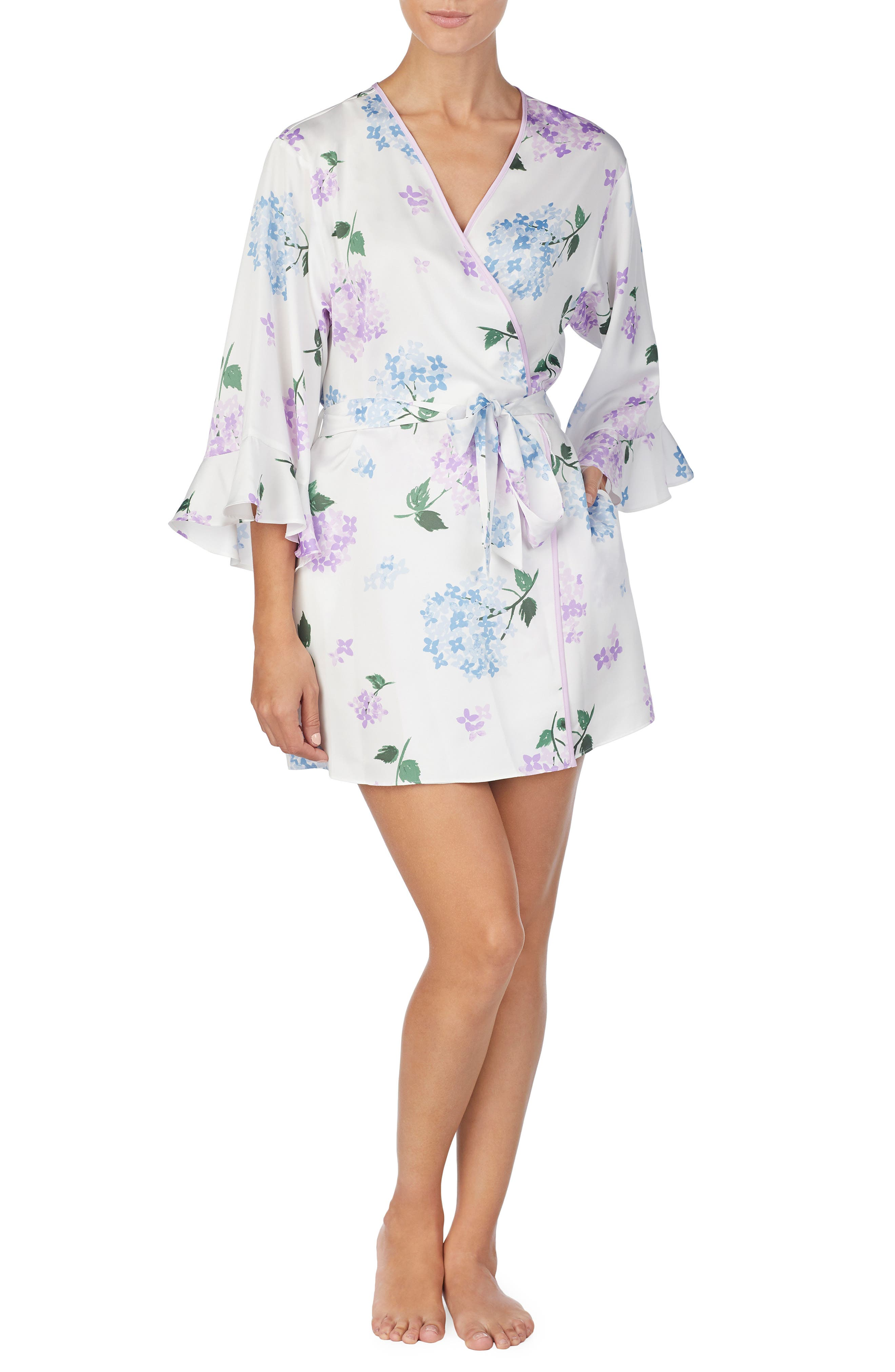 Satin Short Robe in Hydrangea
