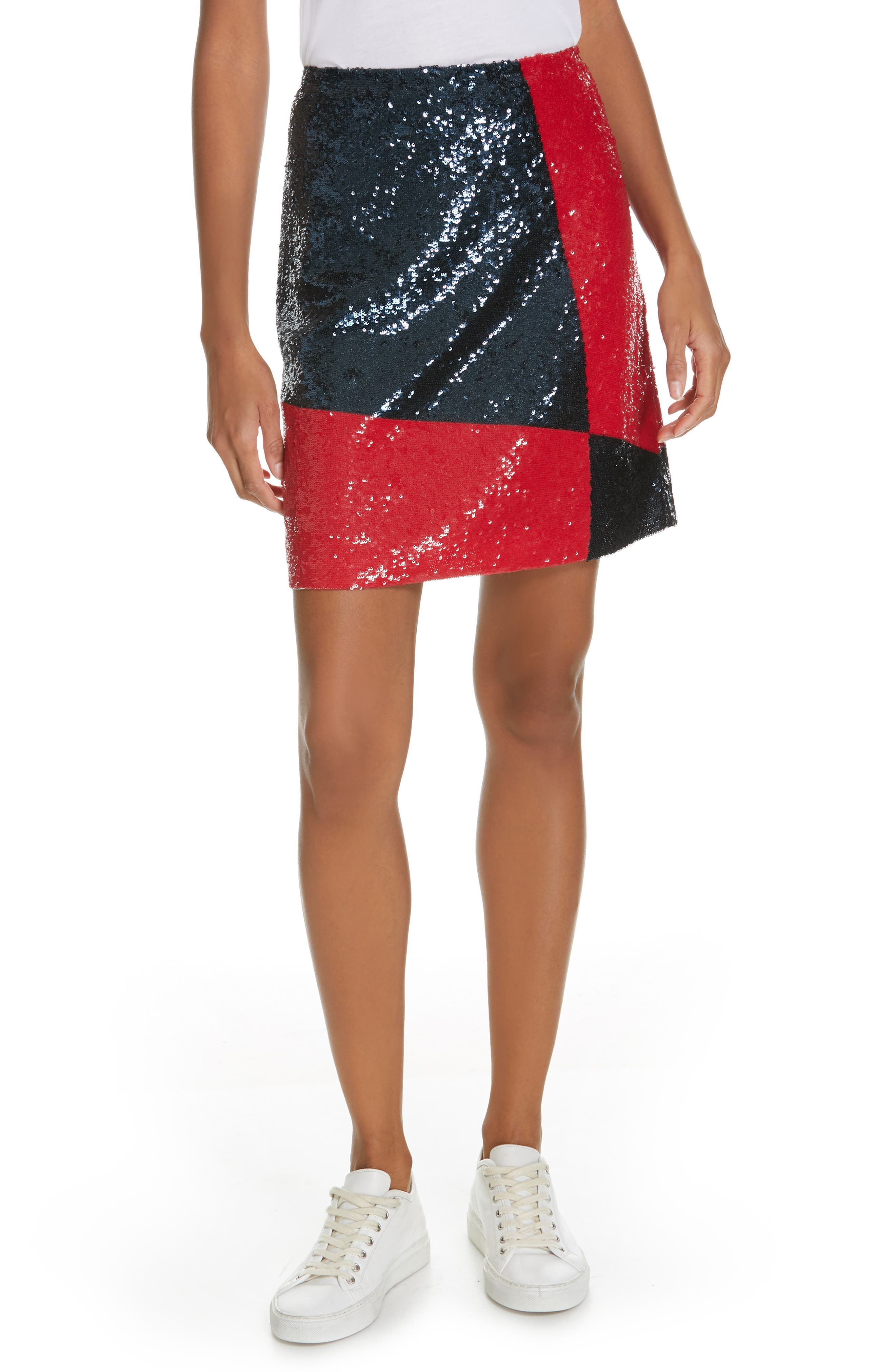 Colorblock Sequin Mini Skirt in Navy/ Red Multi