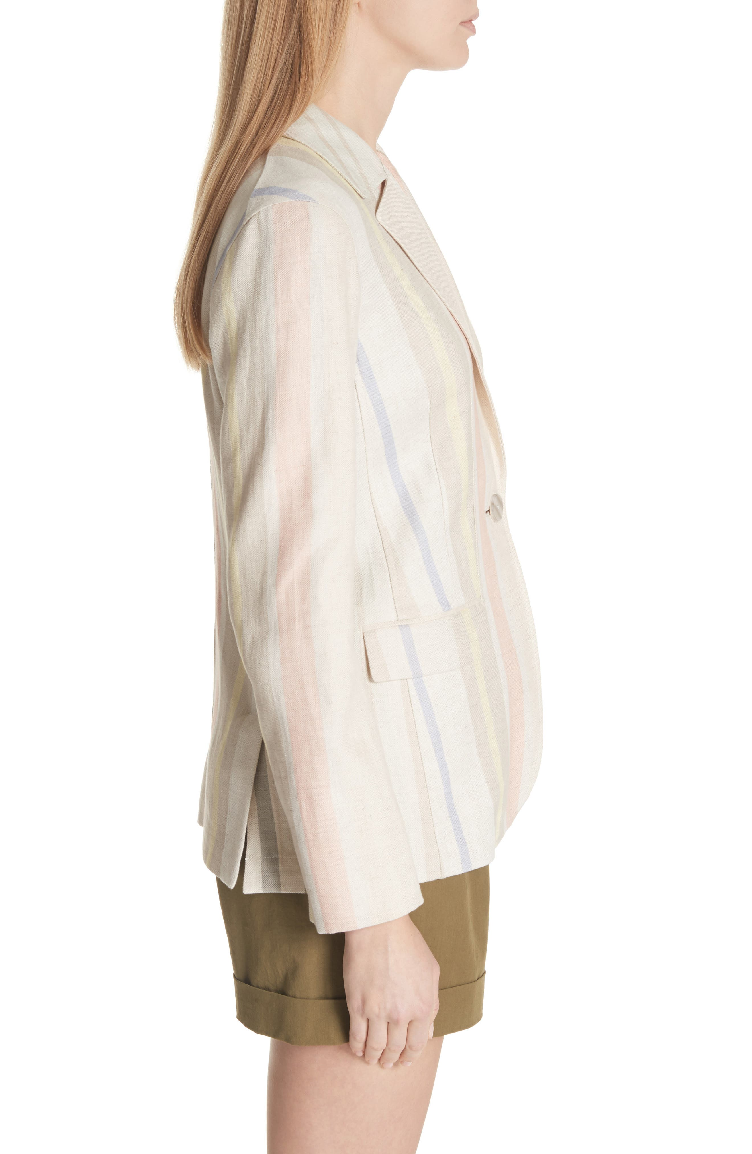 Marie Stripe Linen Jacket,                             Alternate thumbnail 3, color,