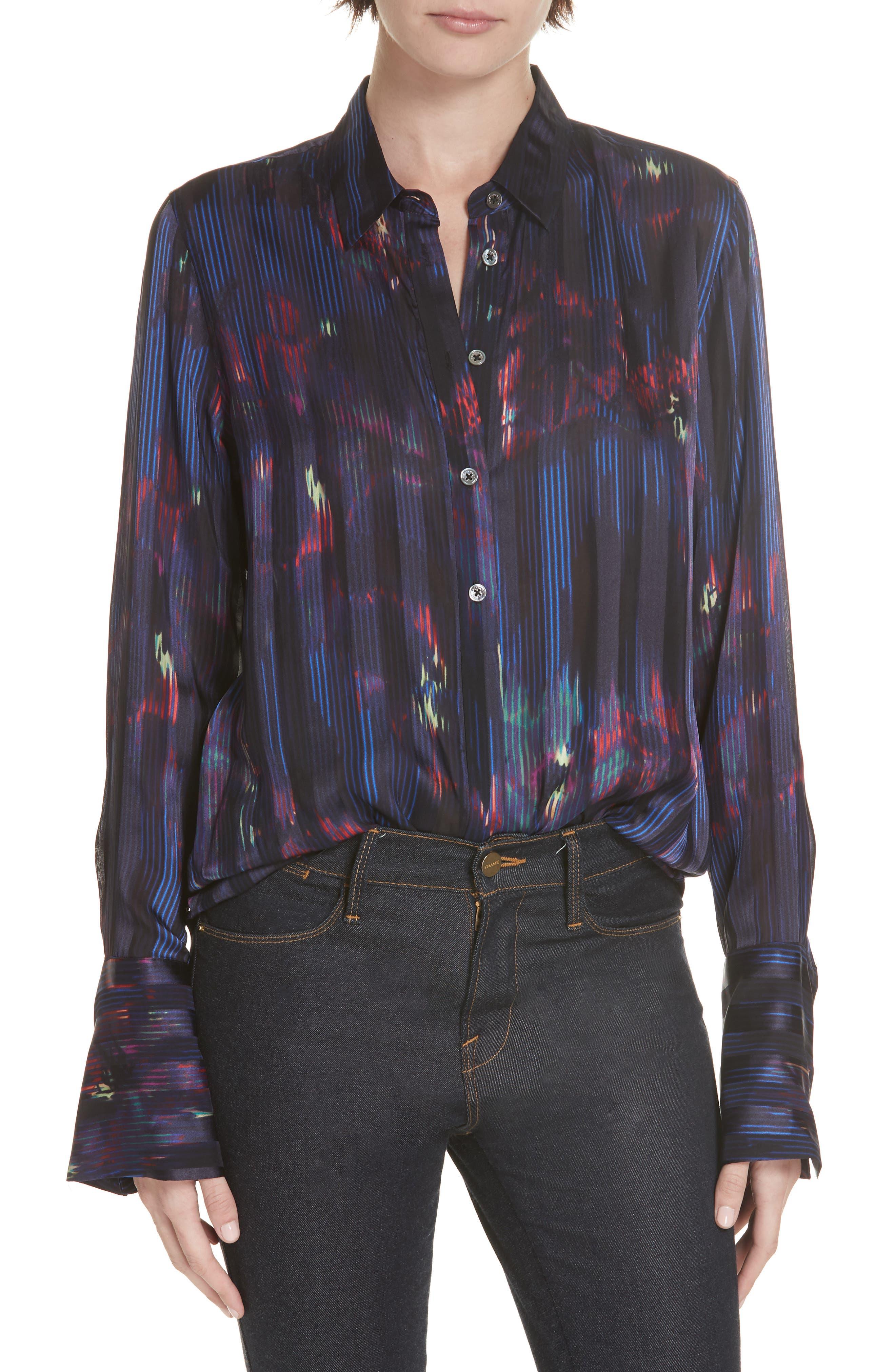 Eleonore Print Silk Blend Shirt, Main, color, ECLIPSE MULTI