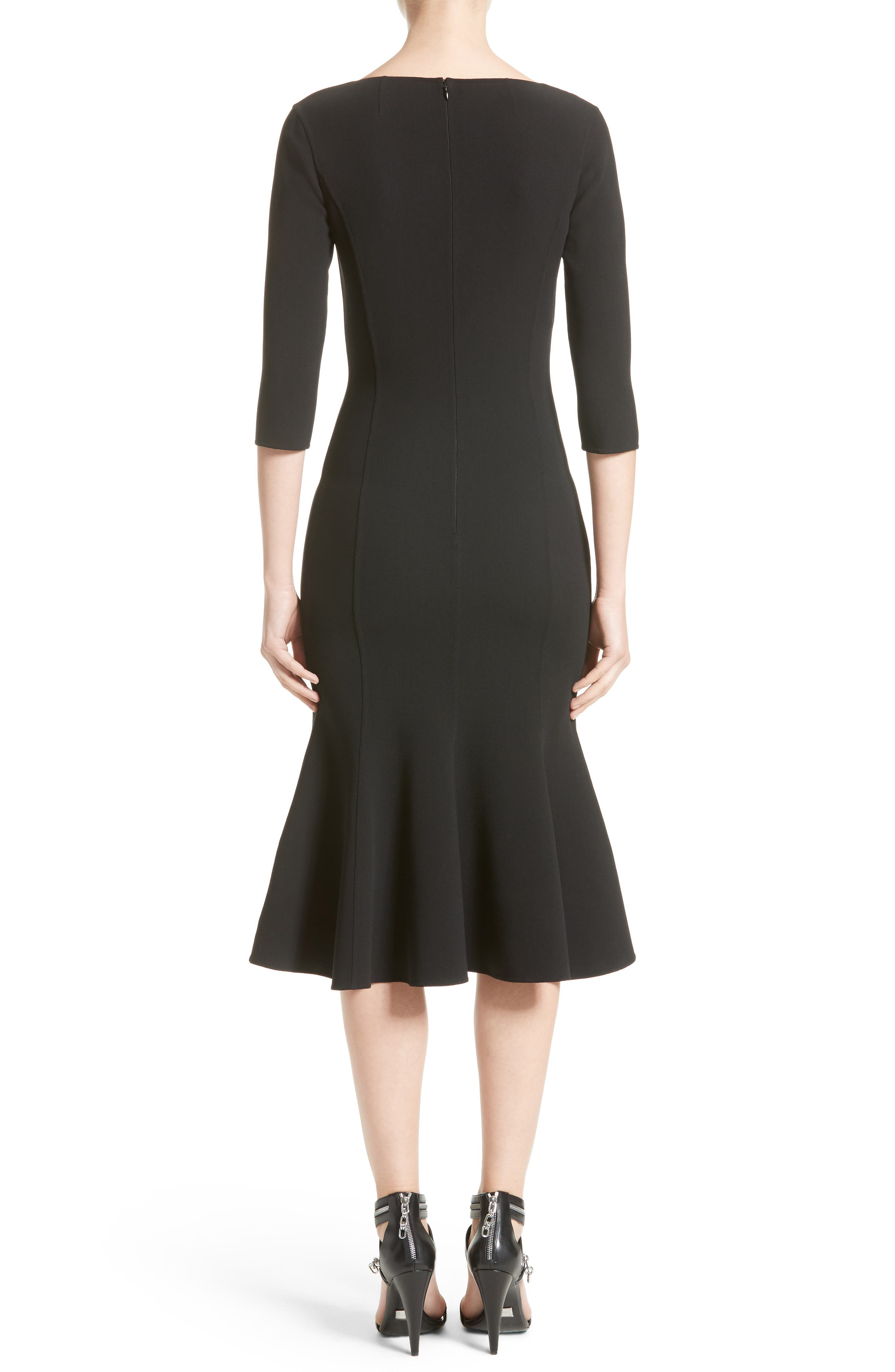 Stretch Wool Crepe Flounce Dress,                             Alternate thumbnail 2, color,