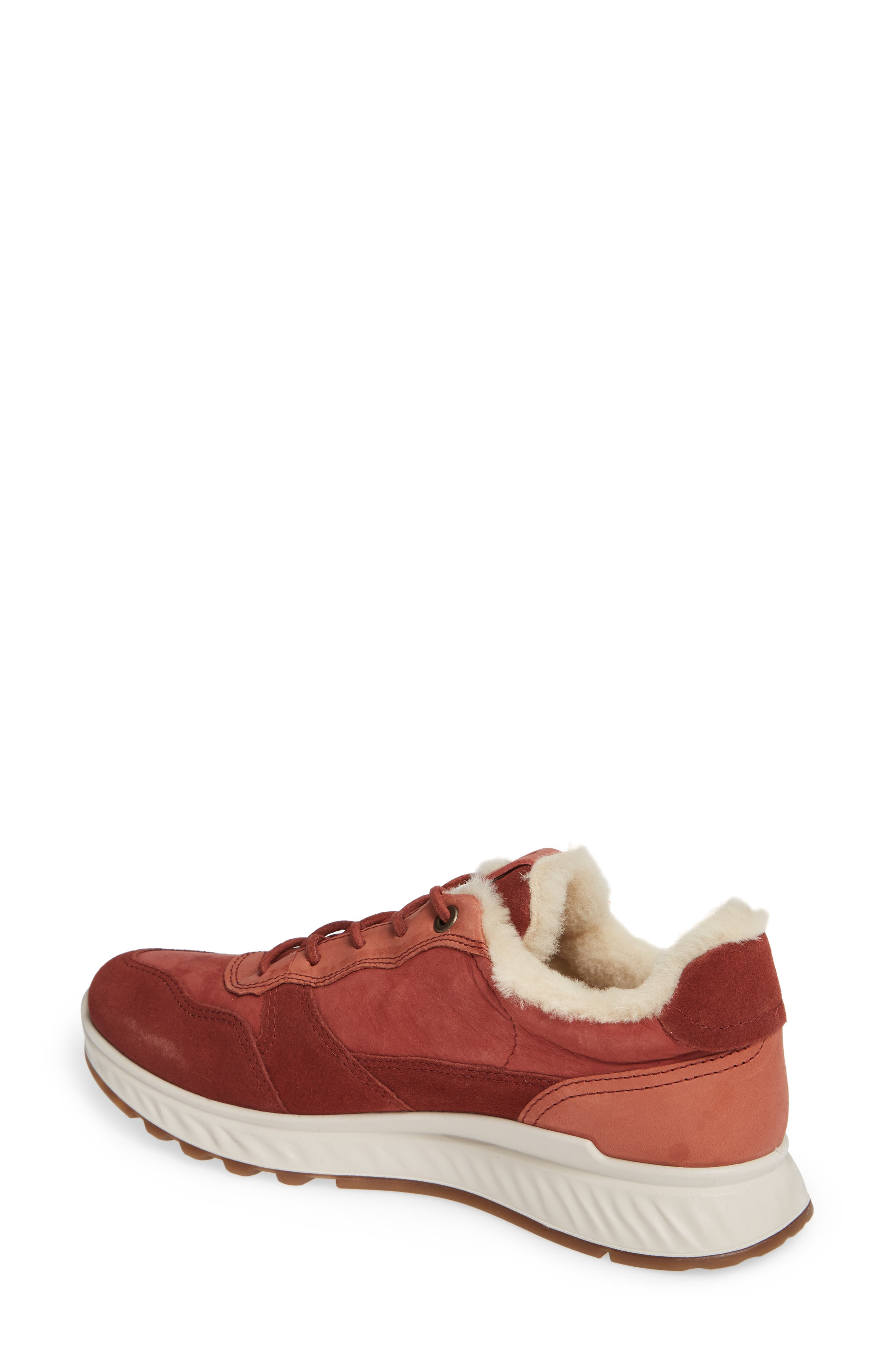 ST1 Genuine Shearling Sneaker,                             Alternate thumbnail 2, color,                             FIRED BRICK NUBUCK LEATHER