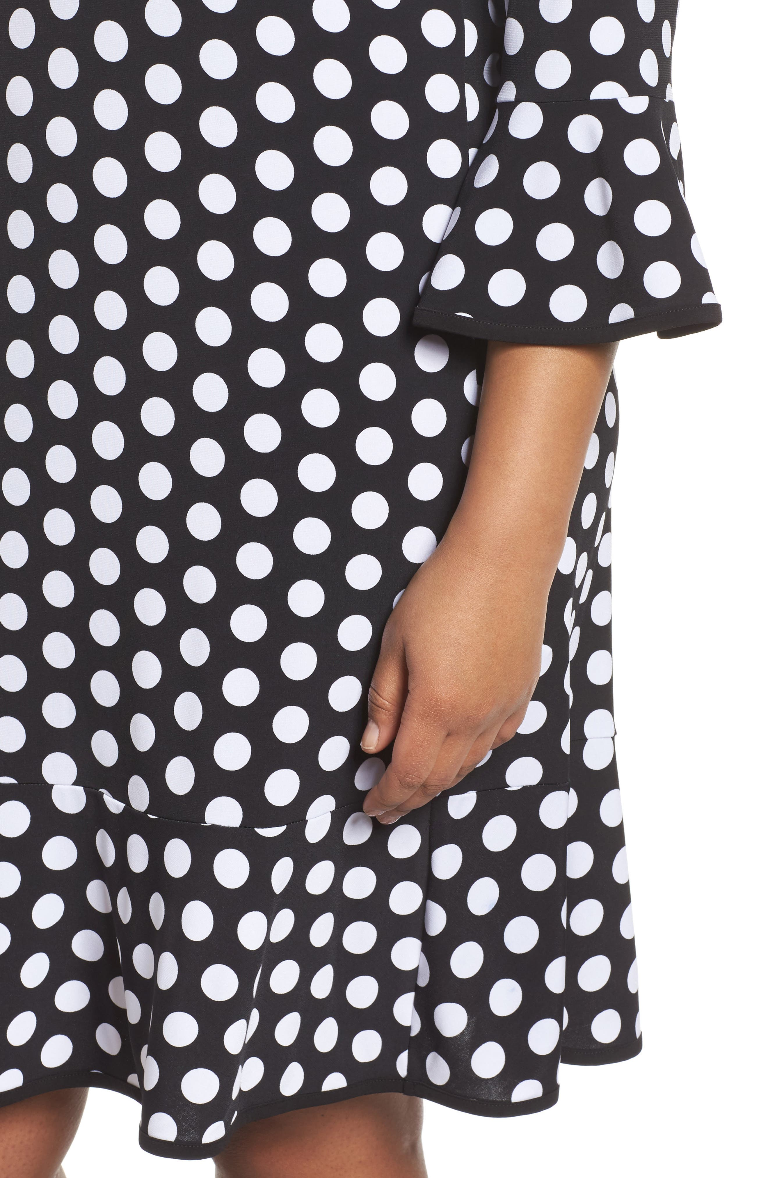 Simple Dot Flounce Dress,                             Alternate thumbnail 4, color,                             008