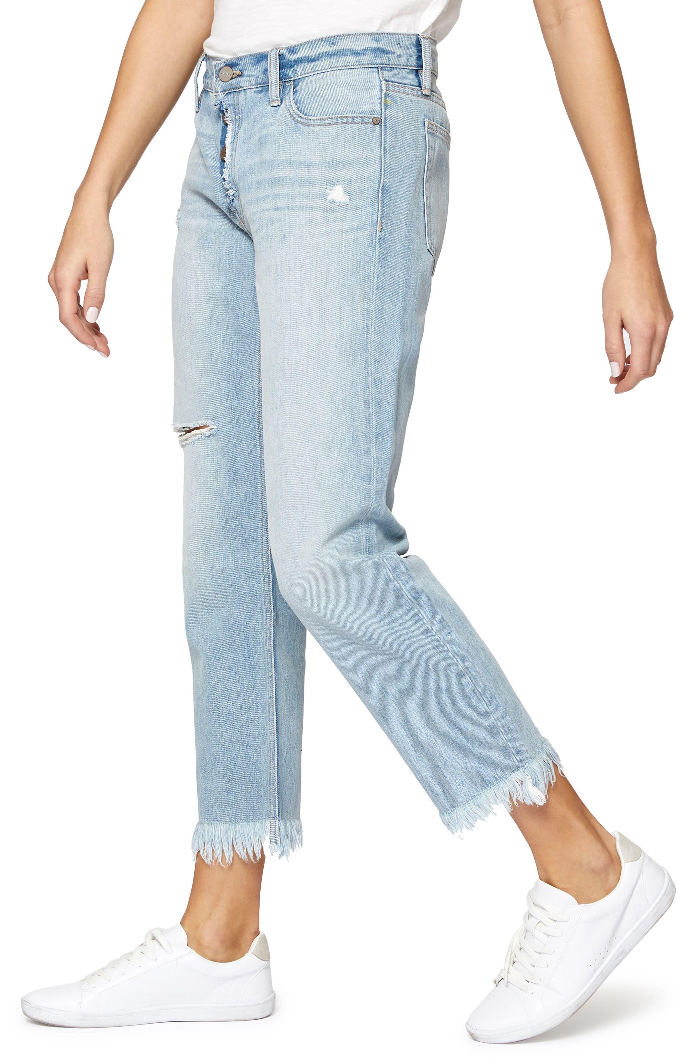 Straight Leg Fray Hem Boyfriend Jeans,                             Alternate thumbnail 3, color,                             451