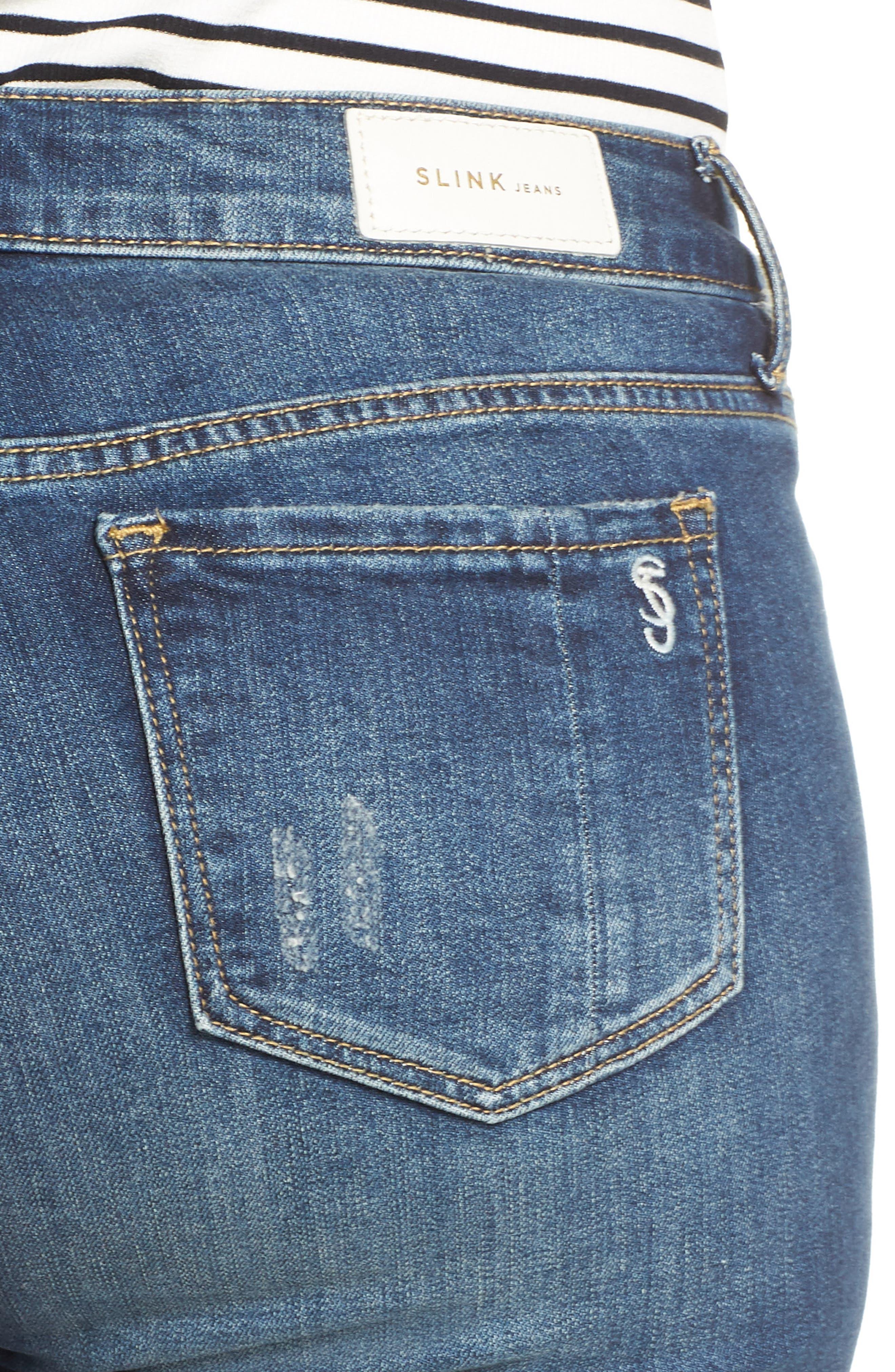 Ripped Roll Cuff Boyfriend Jeans,                             Alternate thumbnail 4, color,                             HUNTER
