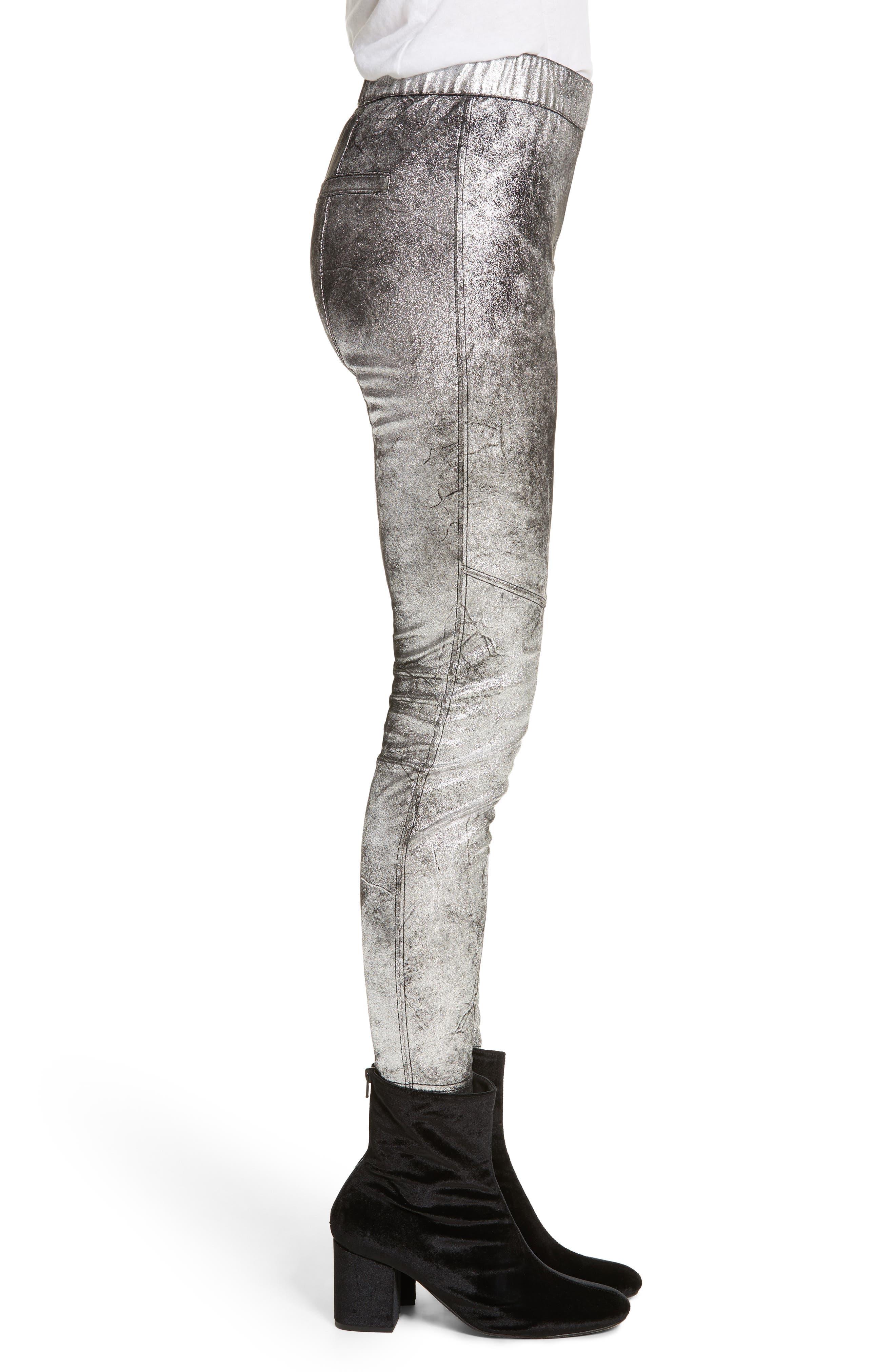 Faux Leather Leggings,                             Alternate thumbnail 3, color,                             040