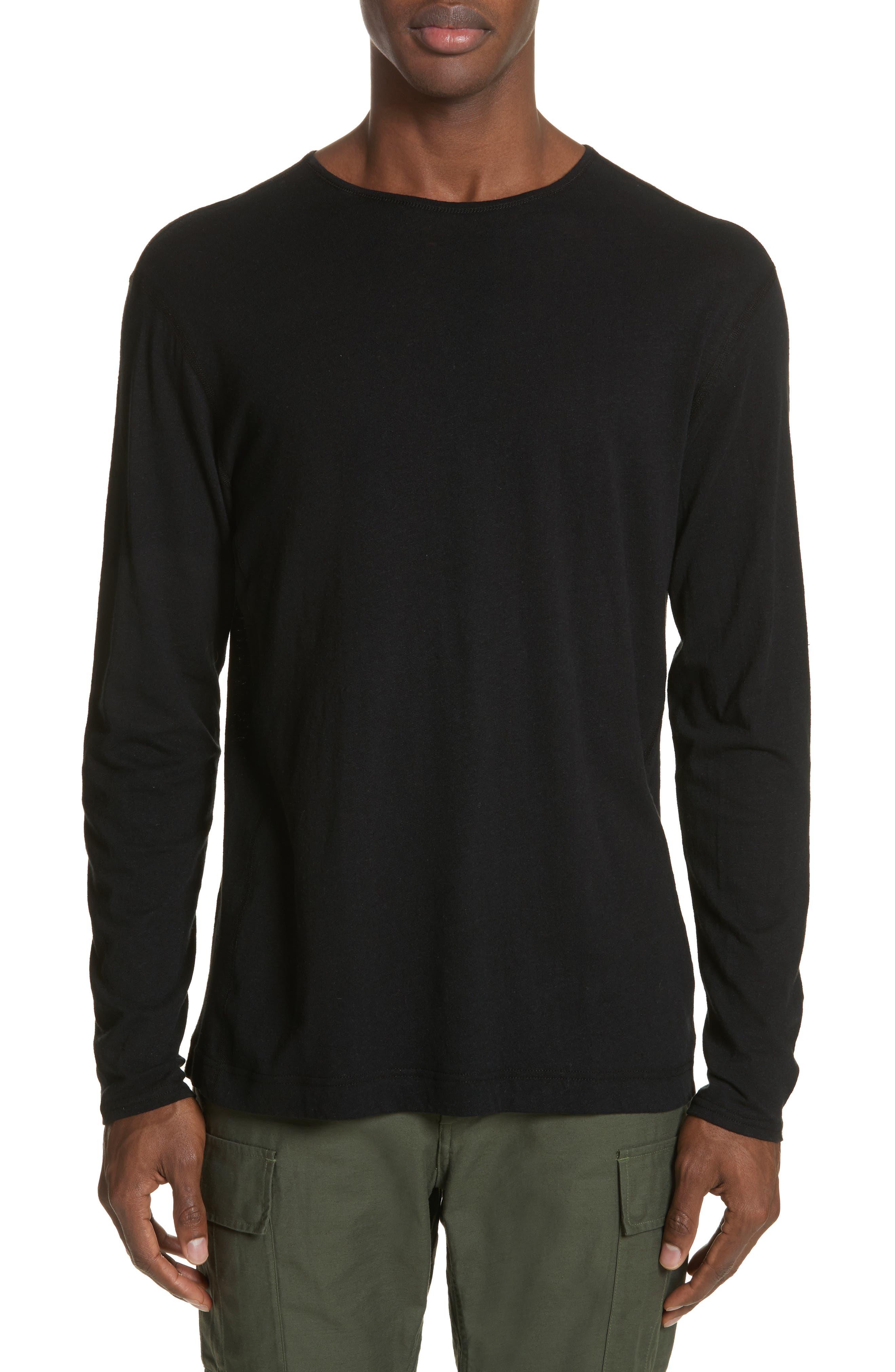 Linen Blend Jersey Long Sleeve T-Shirt,                         Main,                         color, 001