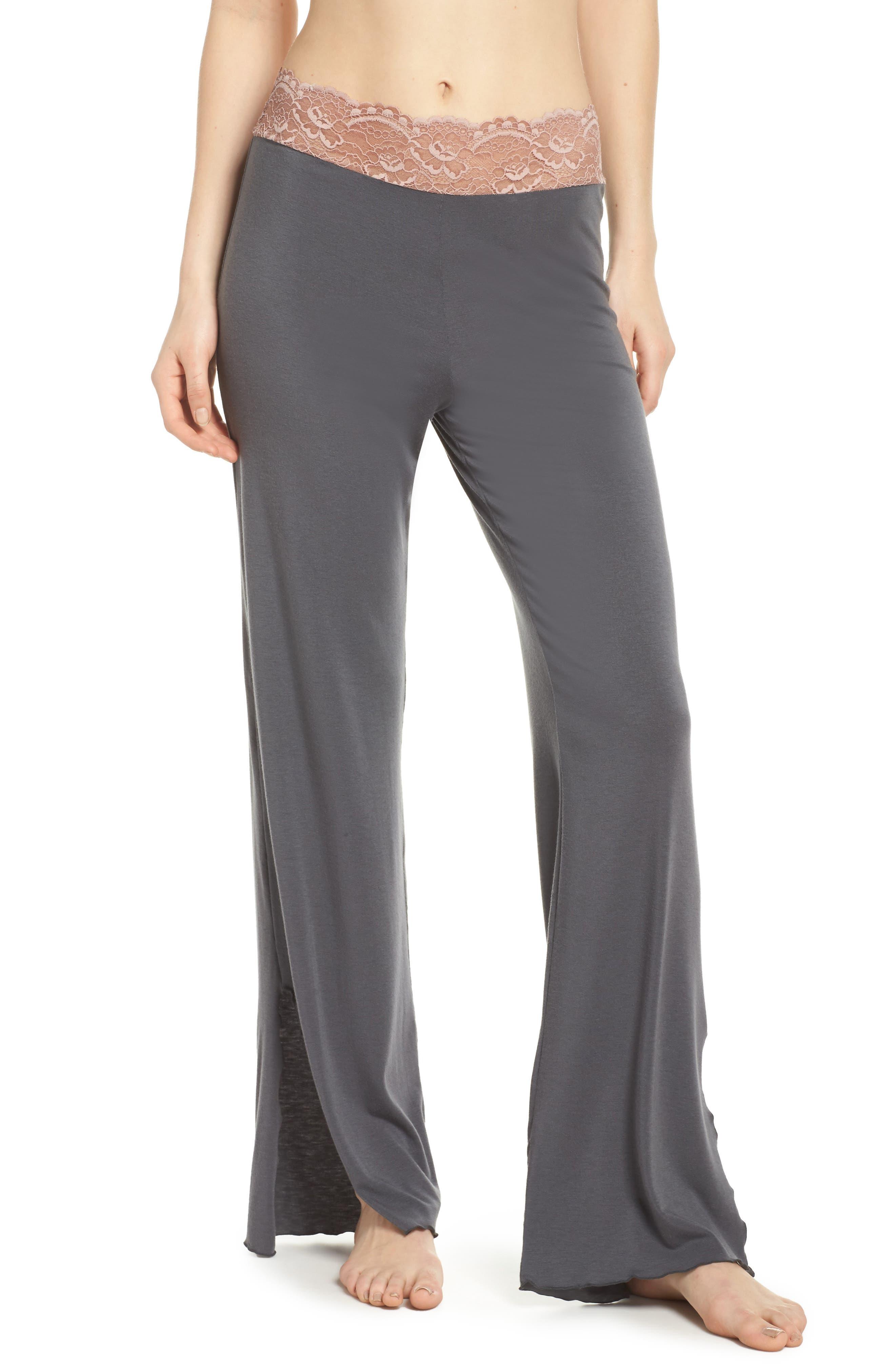 Lace Trim Pants,                             Main thumbnail 1, color,                             SLATE WITH JAVA LACE