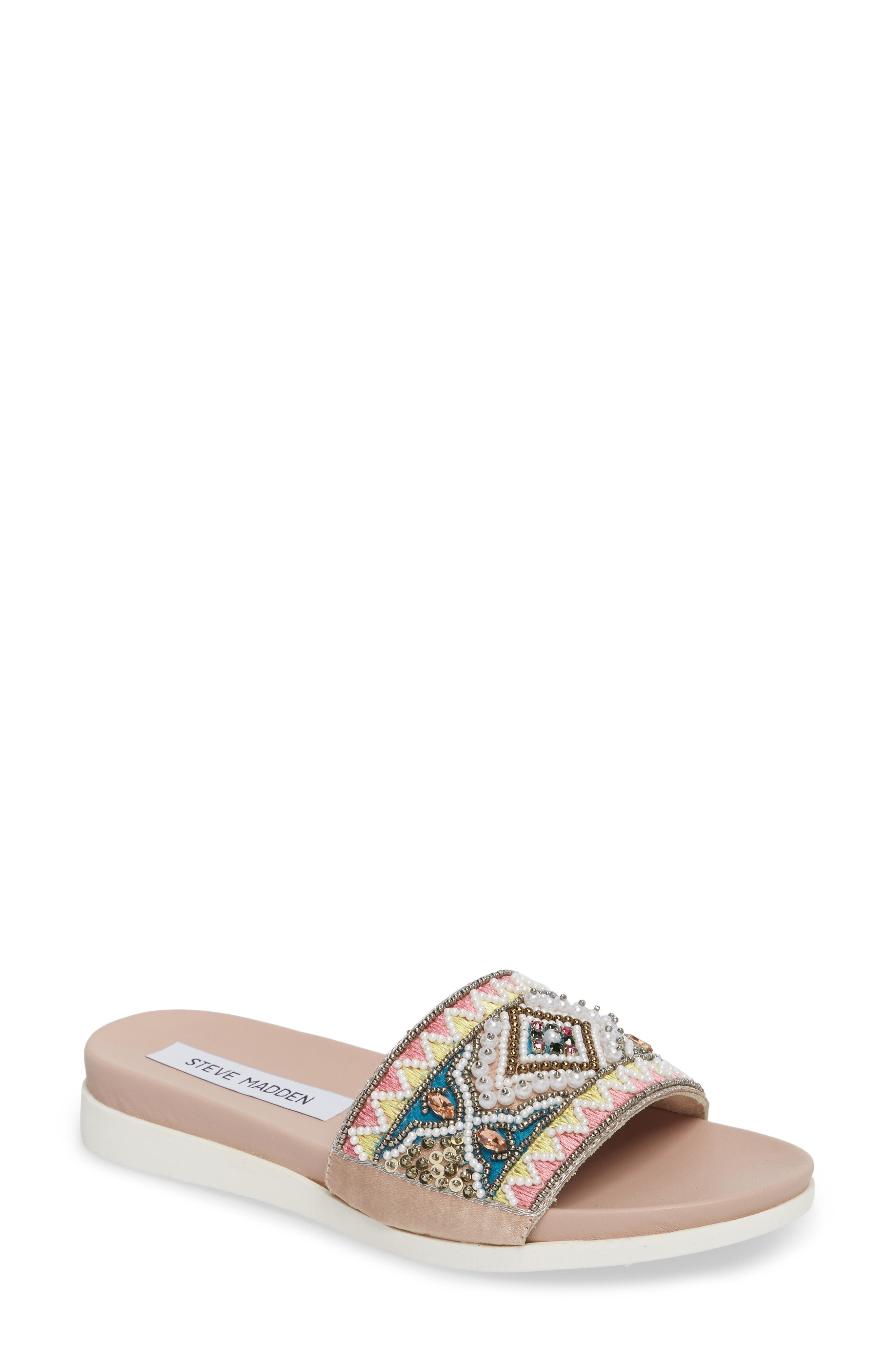 Thalia Beaded Slide Sandal,                             Main thumbnail 1, color,                             400