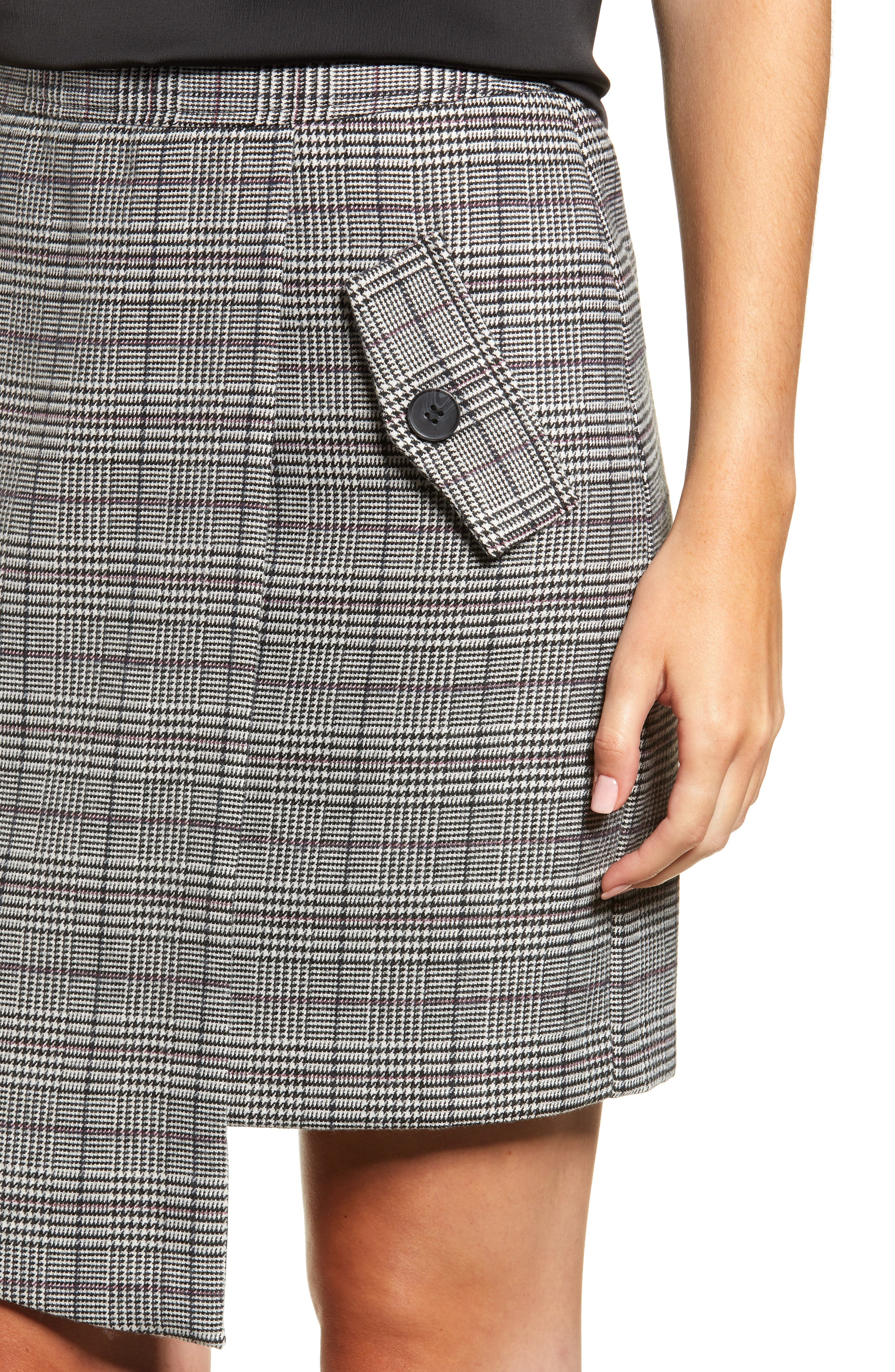 Chriselle Lim Bianca Houndstooth Button Front Skirt,                             Alternate thumbnail 5, color,                             GREY PLAID