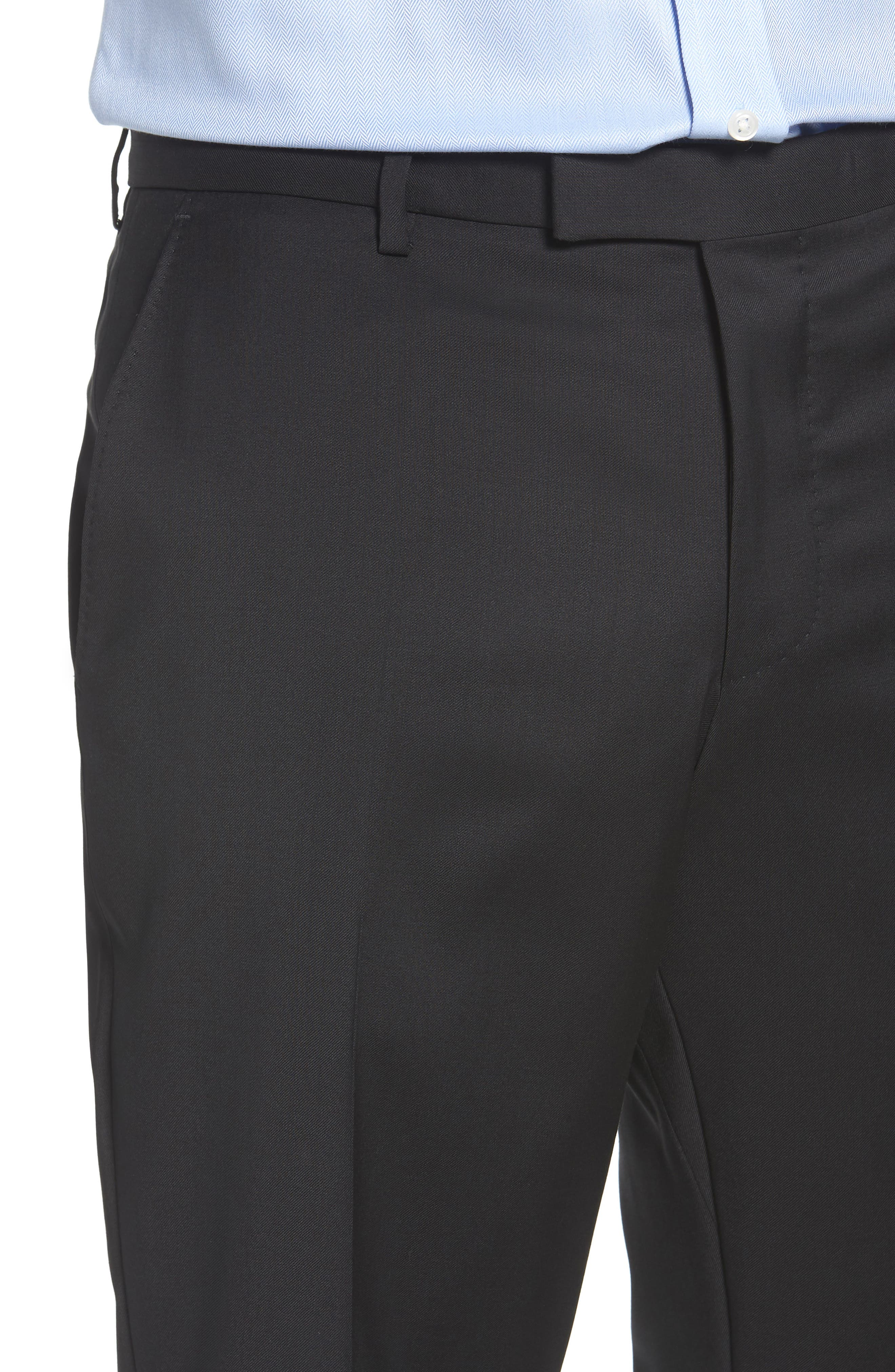 Leenon Flat Front Regular Fit Solid Wool Trousers,                             Alternate thumbnail 4, color,                             BLACK