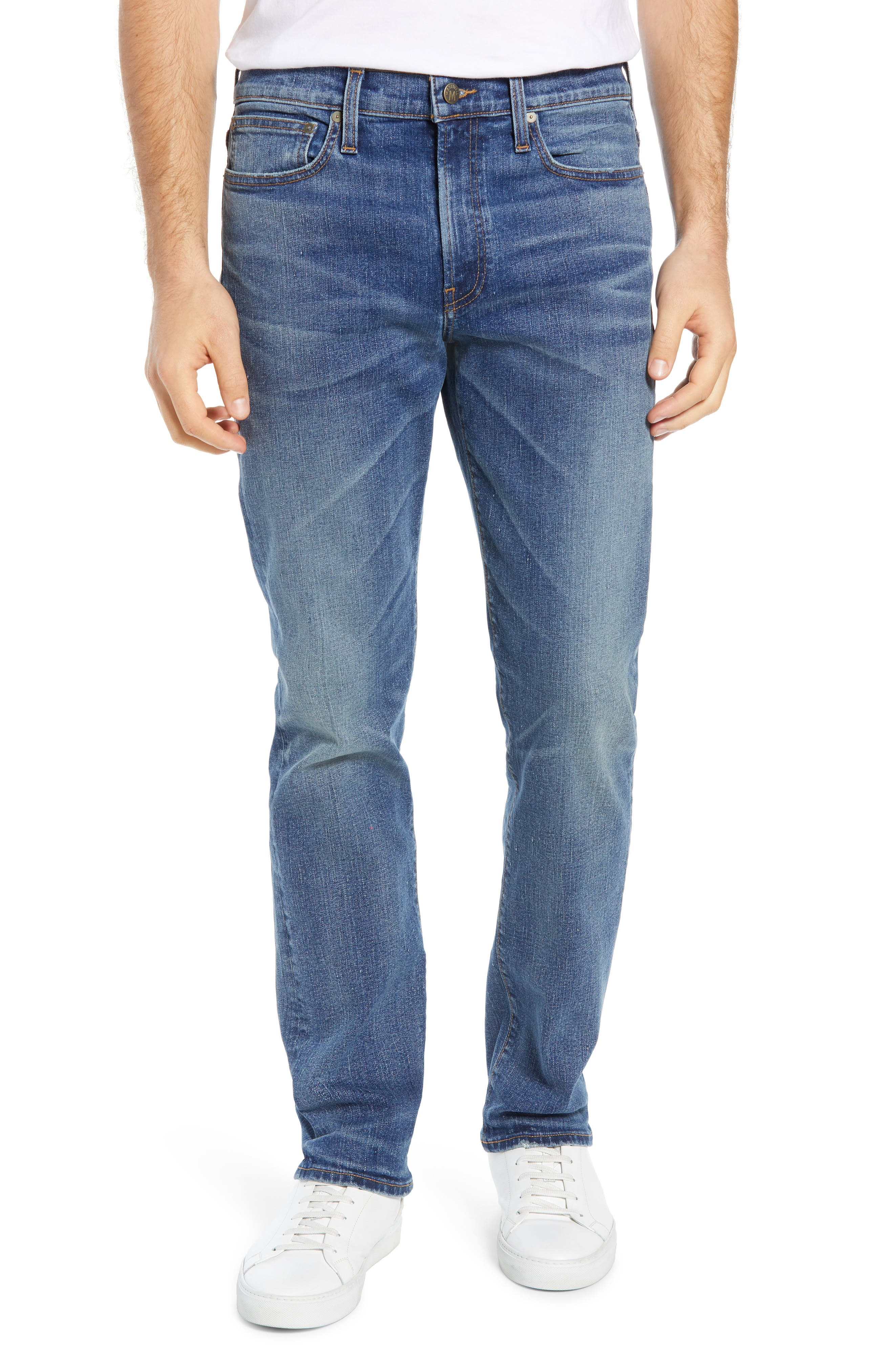 MADEWELL Straight Leg Jeans, Main, color, ARCWOOD