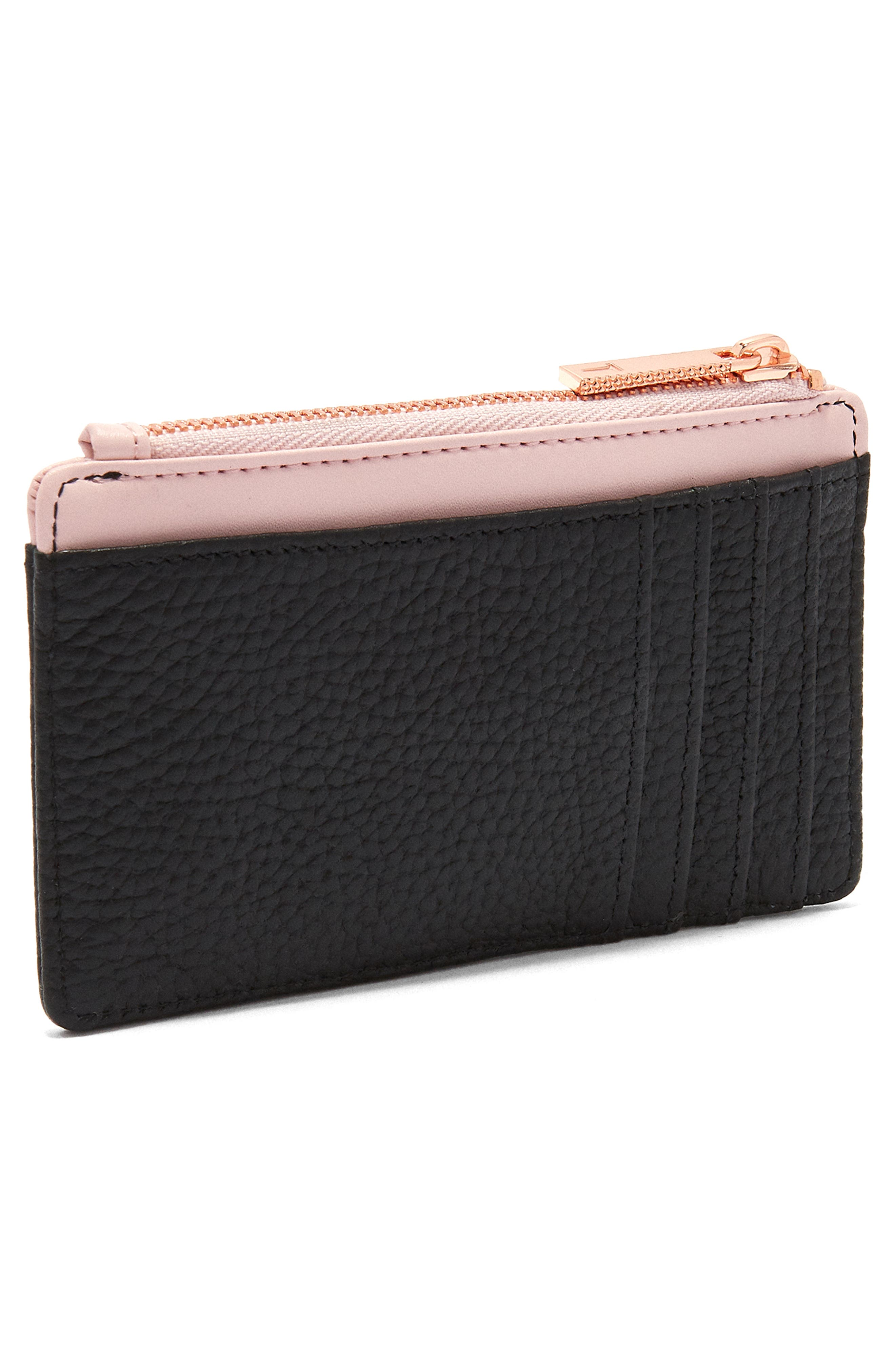 Zip Leather Card Holder,                             Alternate thumbnail 3, color,                             001