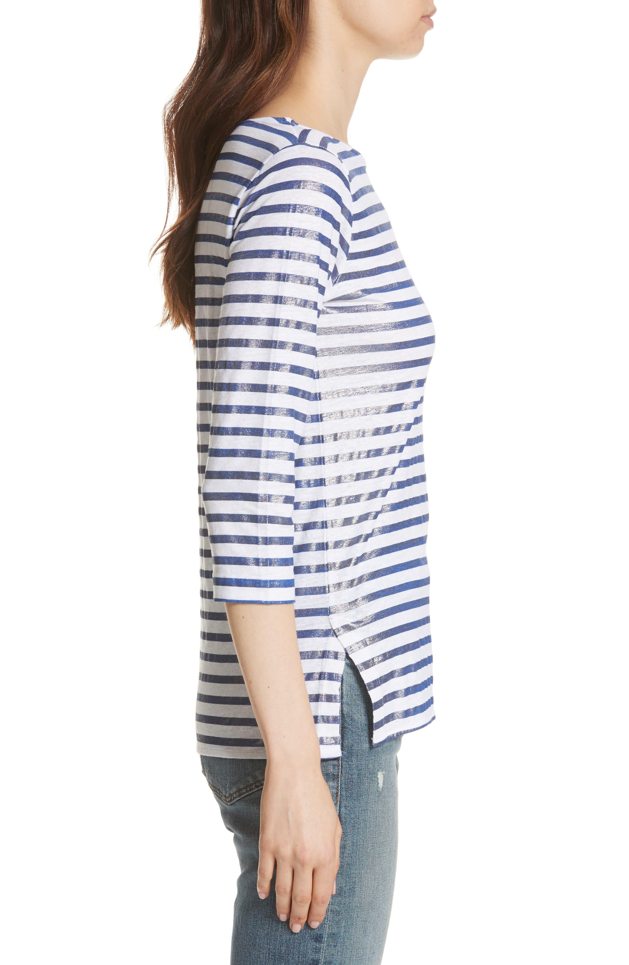 Linen Stretch Stripe Top,                             Alternate thumbnail 3, color,                             BLANC/ MARINE METAL