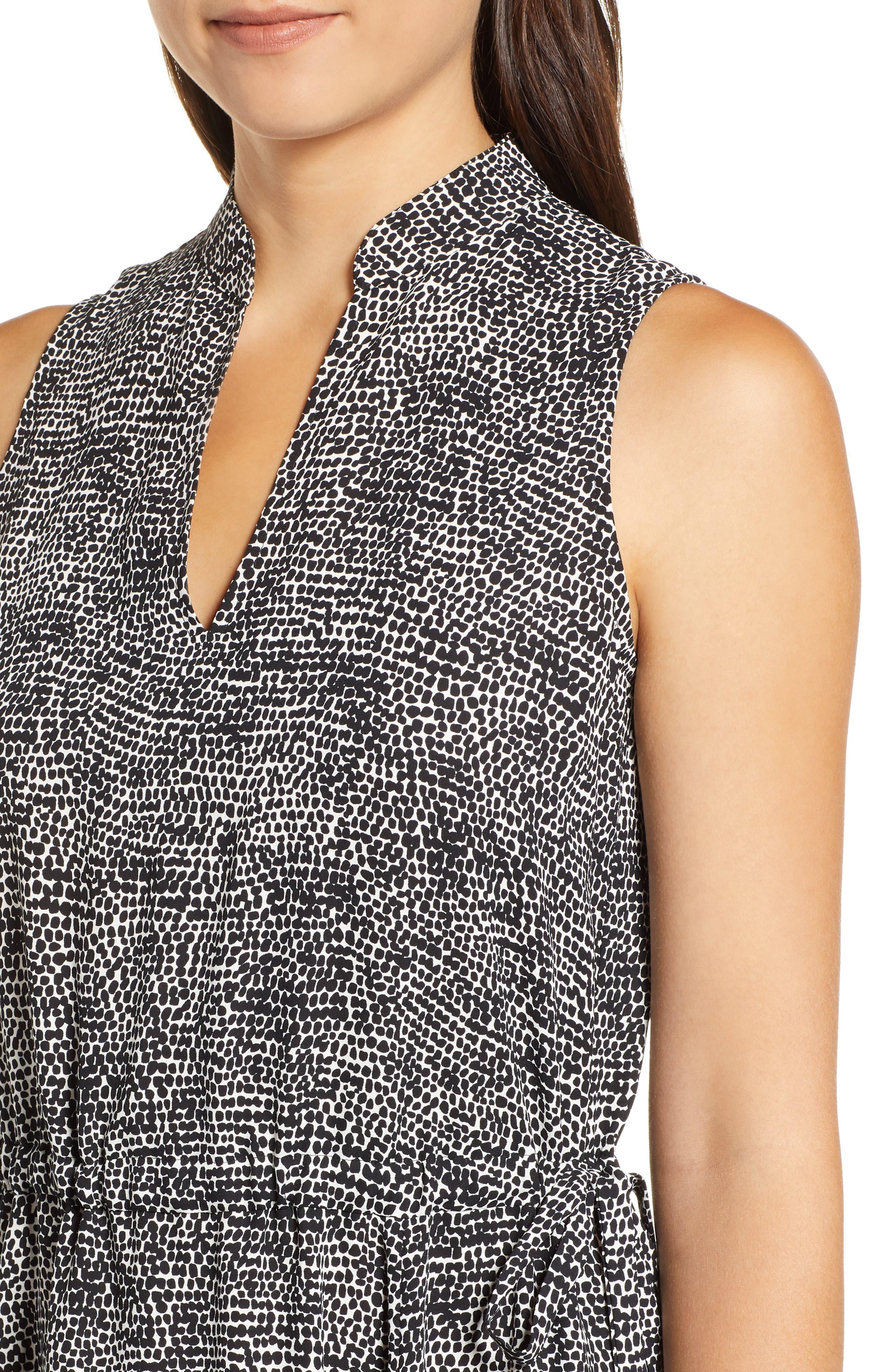 Sleeveless Print Midi Dress,                             Alternate thumbnail 4, color,                             ANNE WHITE/ ANNE BLACK