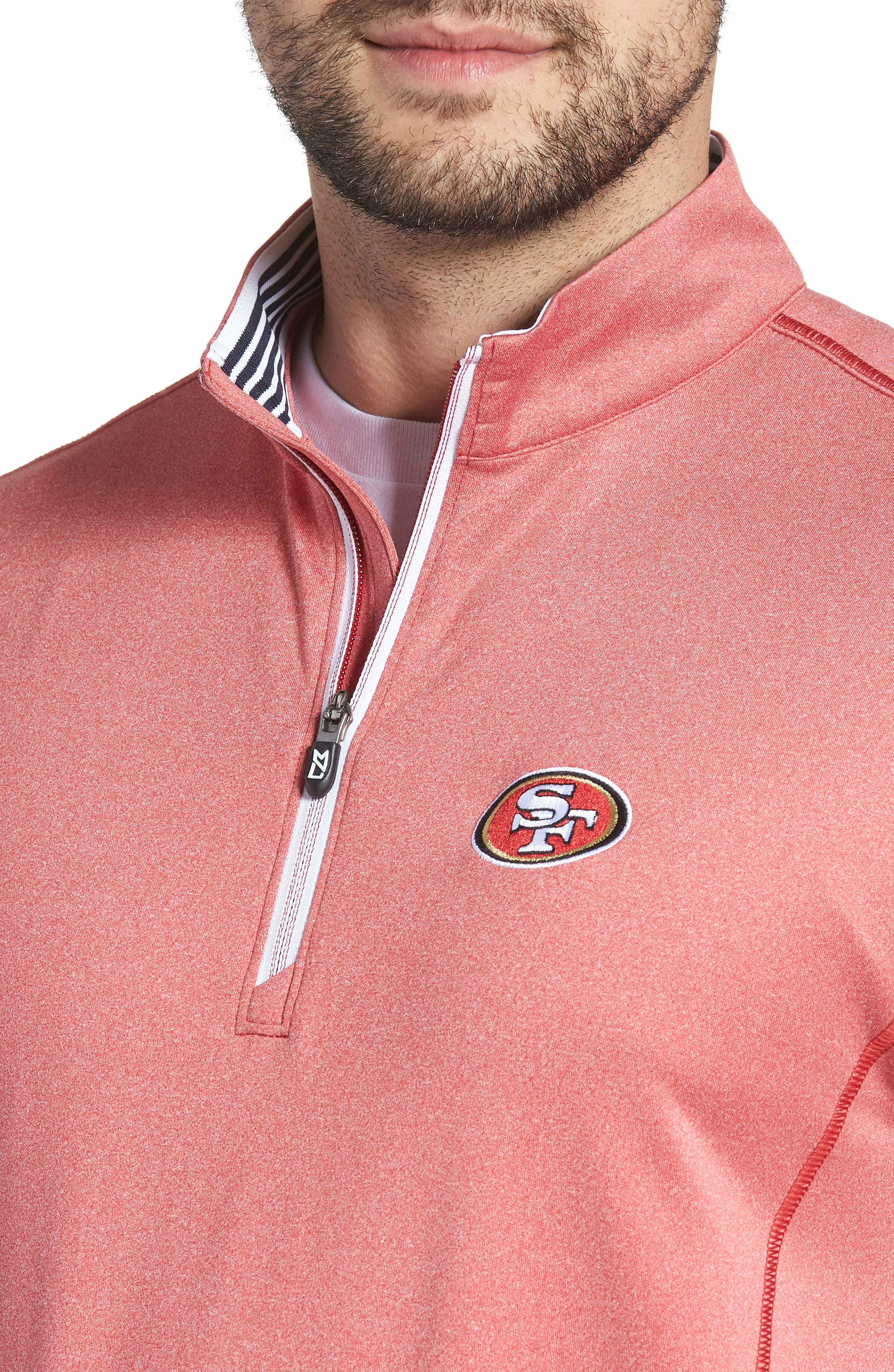 Endurance San Francisco 49s Regular Fit Pullover,                             Alternate thumbnail 4, color,                             CARDINAL RED HEATHER