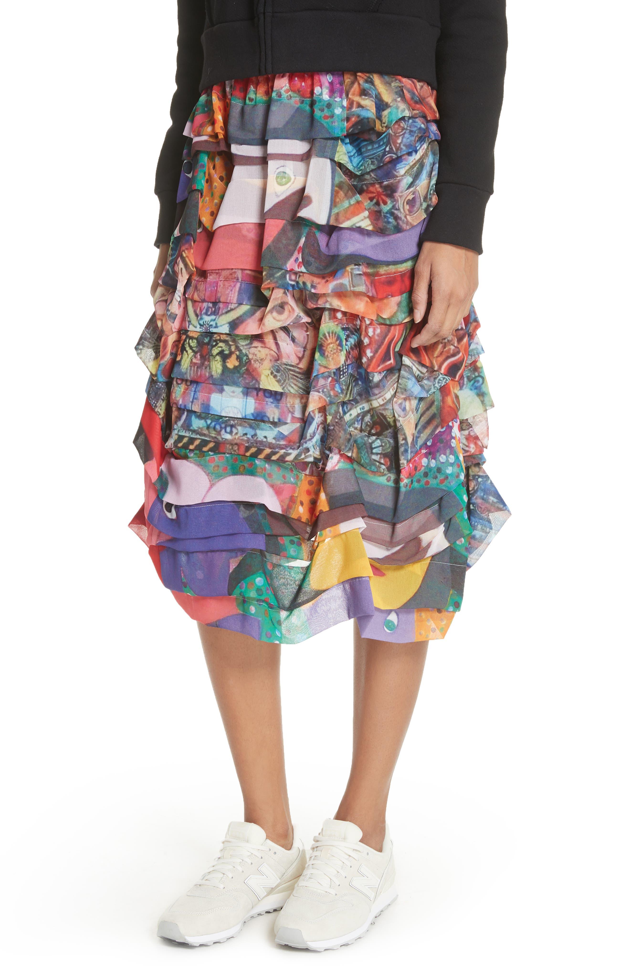 Print Tiered Skirt,                             Alternate thumbnail 4, color,