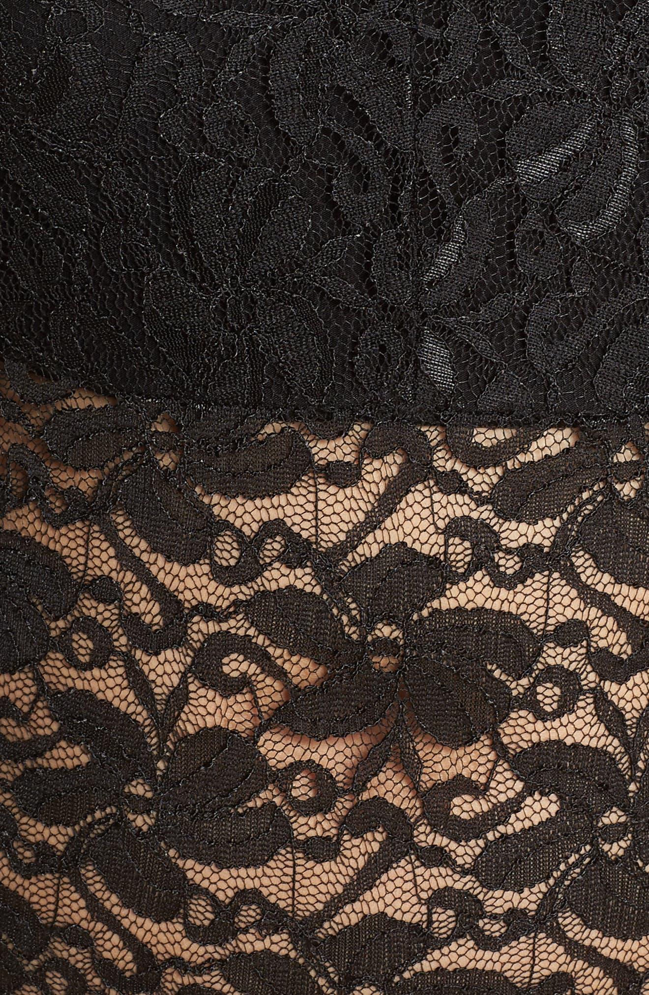 Plunge Lace Bodysuit,                             Alternate thumbnail 5, color,                             BLACK