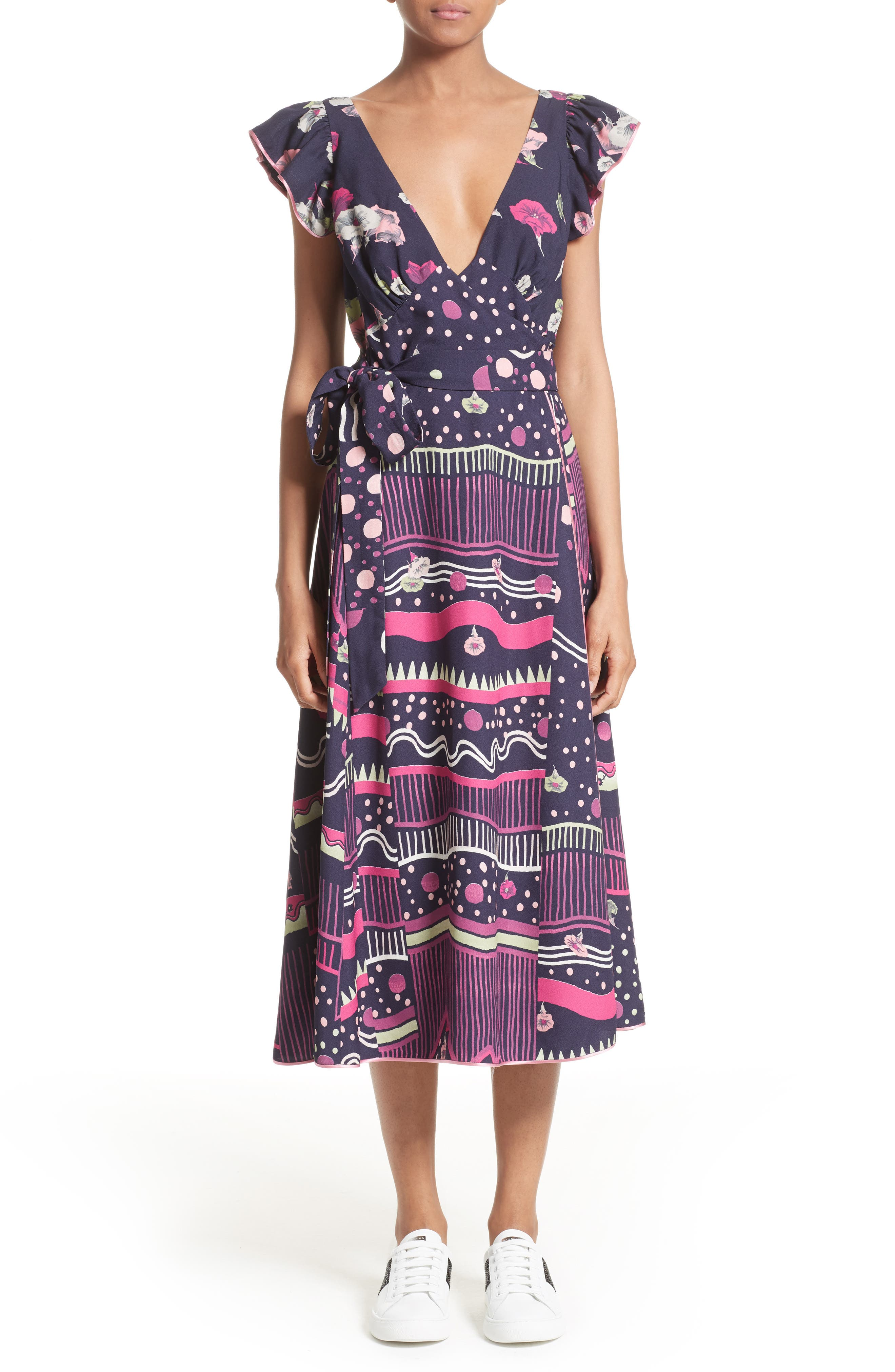 Glories Crepe Back Satin Midi Wrap Dress,                             Main thumbnail 1, color,                             411