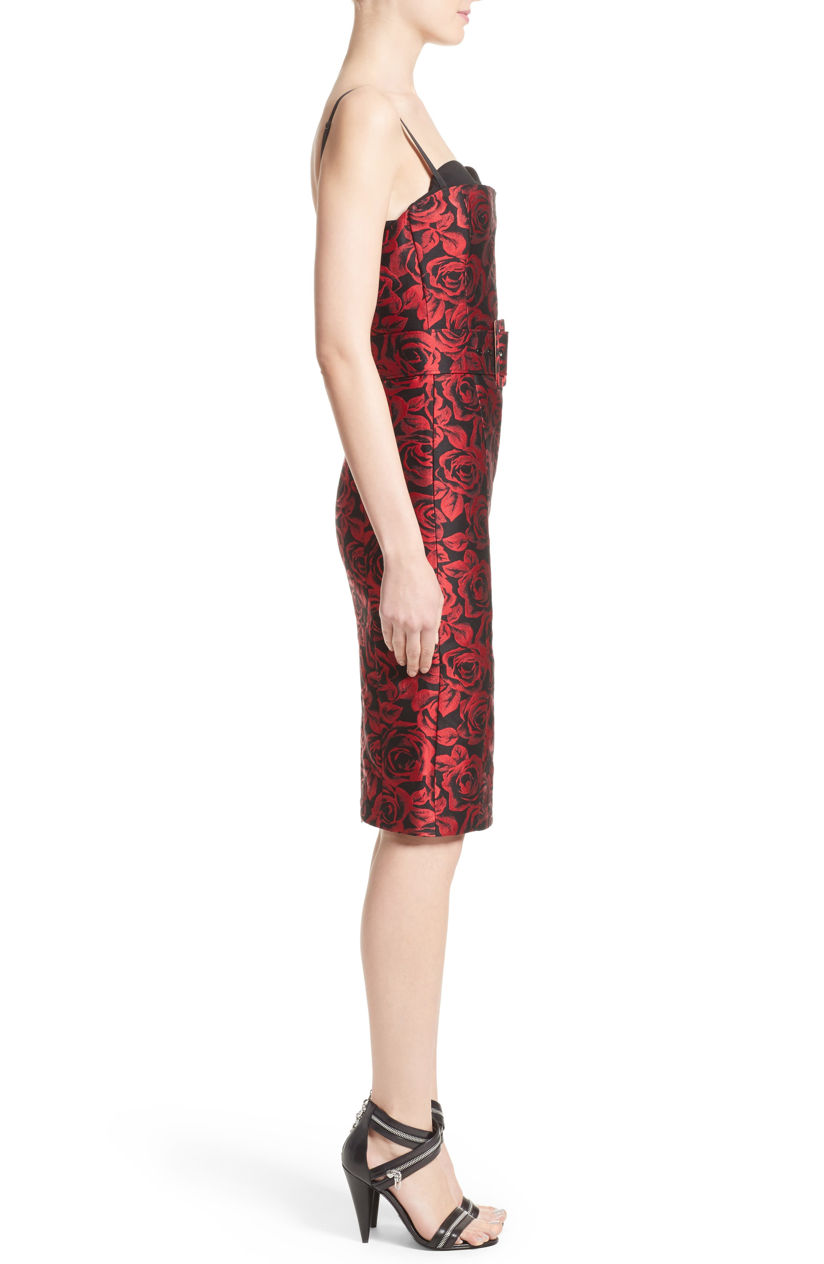 Rose Jacquard Bustier Sheath Dress,                             Alternate thumbnail 3, color,                             611