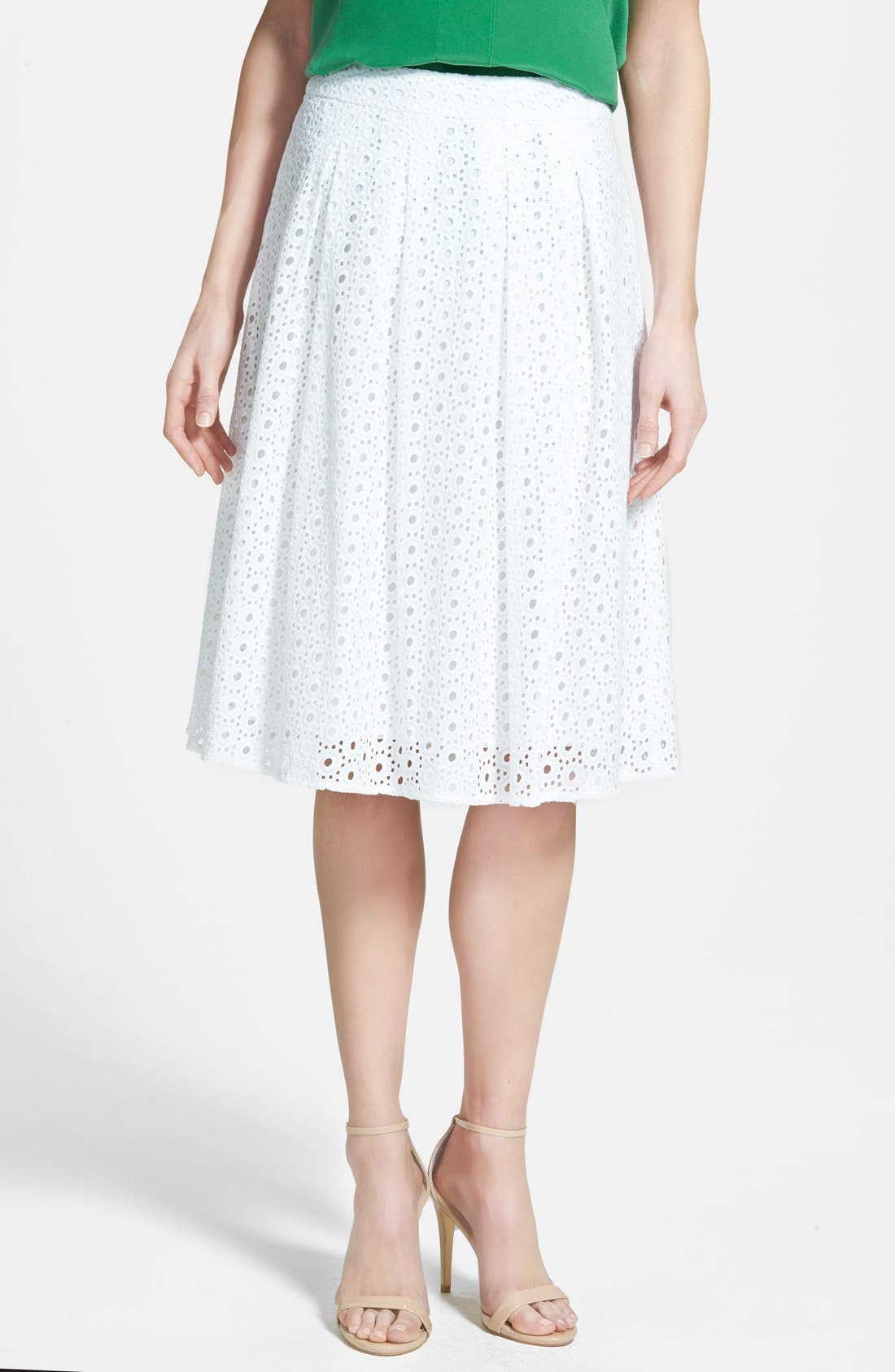Eyelet Pleat Front Skirt,                             Main thumbnail 1, color,                             100