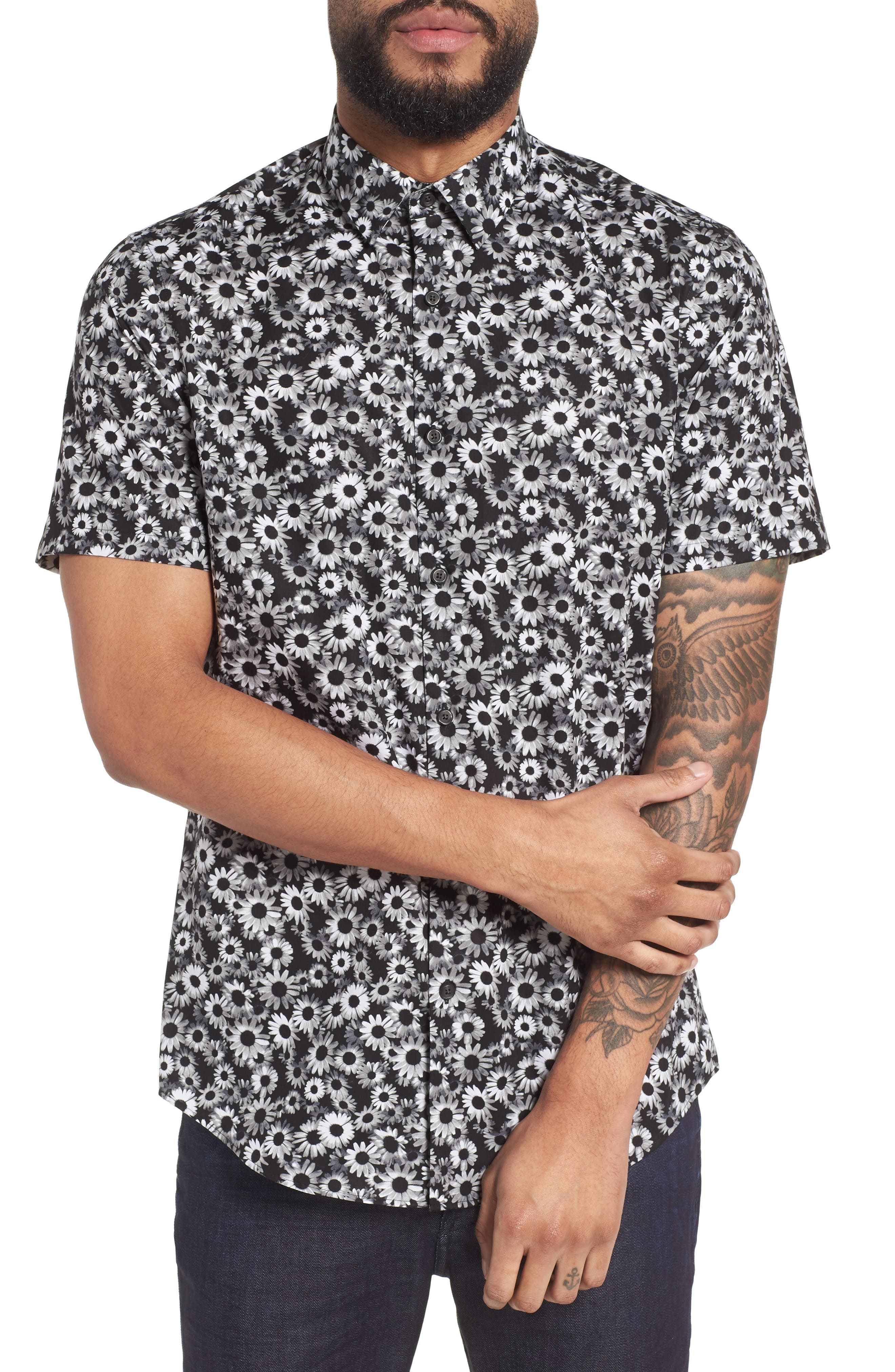 Floral Sport Shirt,                             Main thumbnail 1, color,                             BLACK WHITE DAISY FLORAL