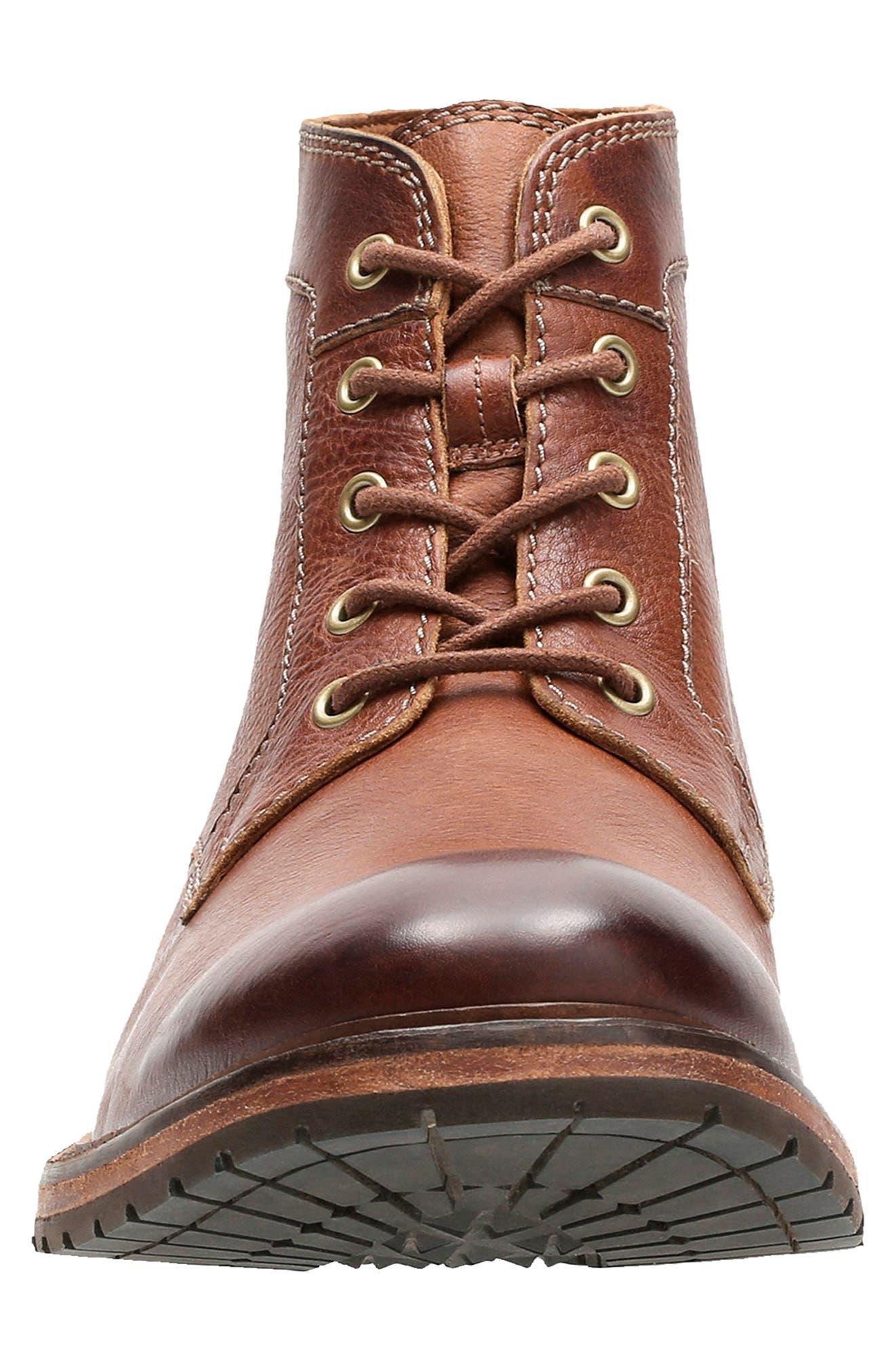 Clarkdale Bud Plain Toe Boot,                             Alternate thumbnail 2, color,                             DARK TAN LEATHER