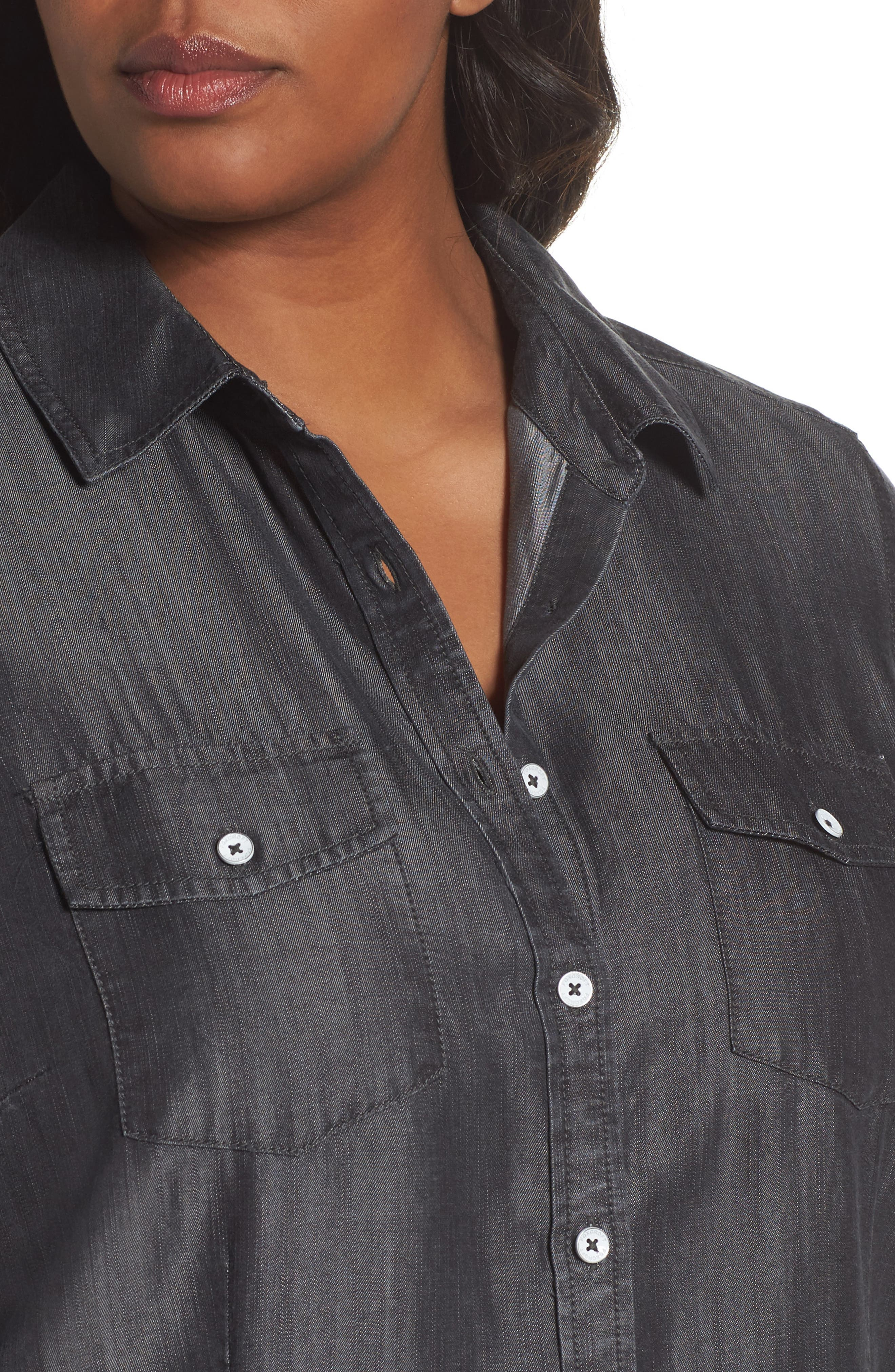 Dylan Woven Tencel<sup>®</sup> Shirt,                             Alternate thumbnail 4, color,                             CHARCOAL