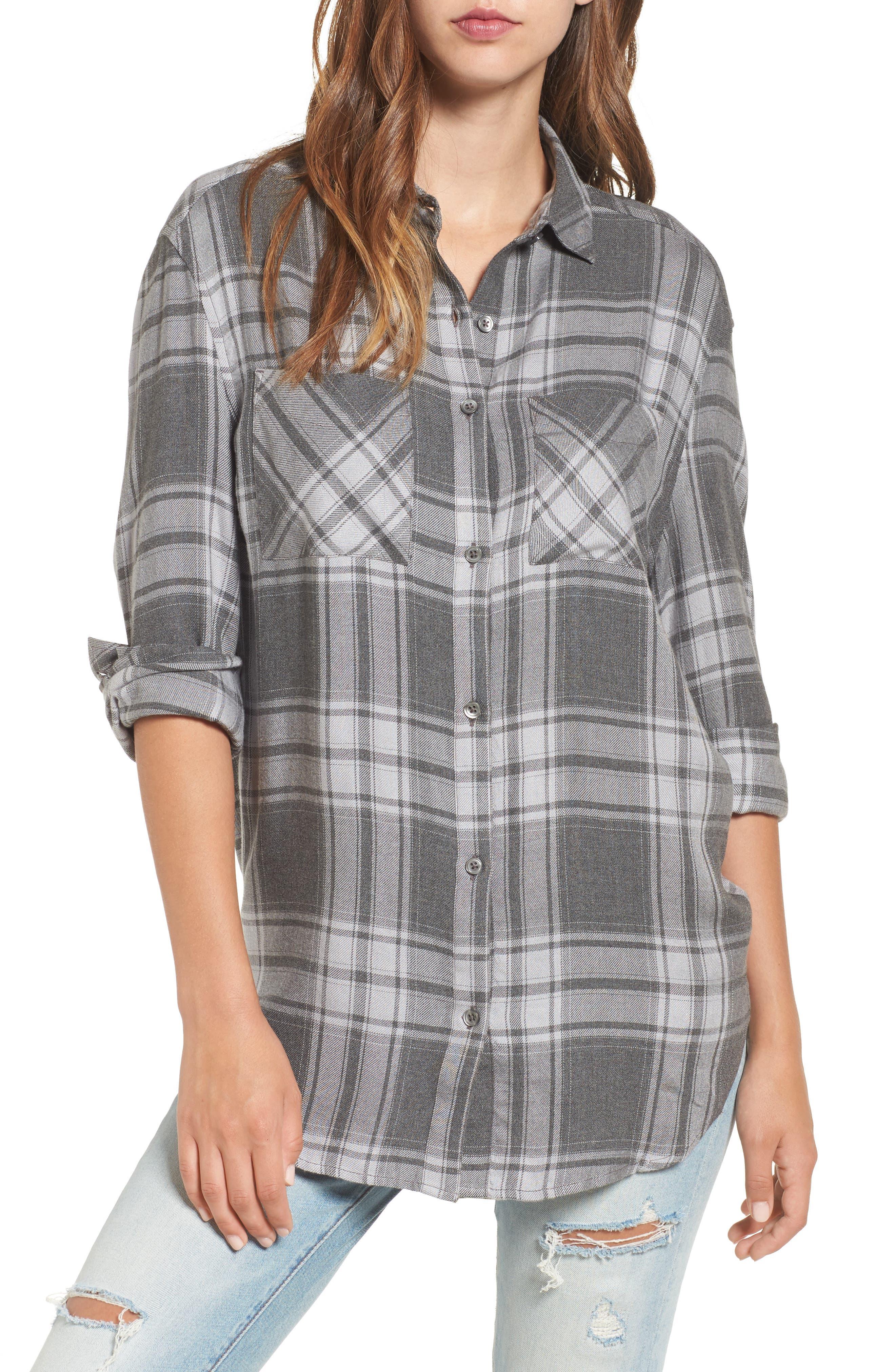 Oversize Flannel Shirt,                             Main thumbnail 1, color,                             030