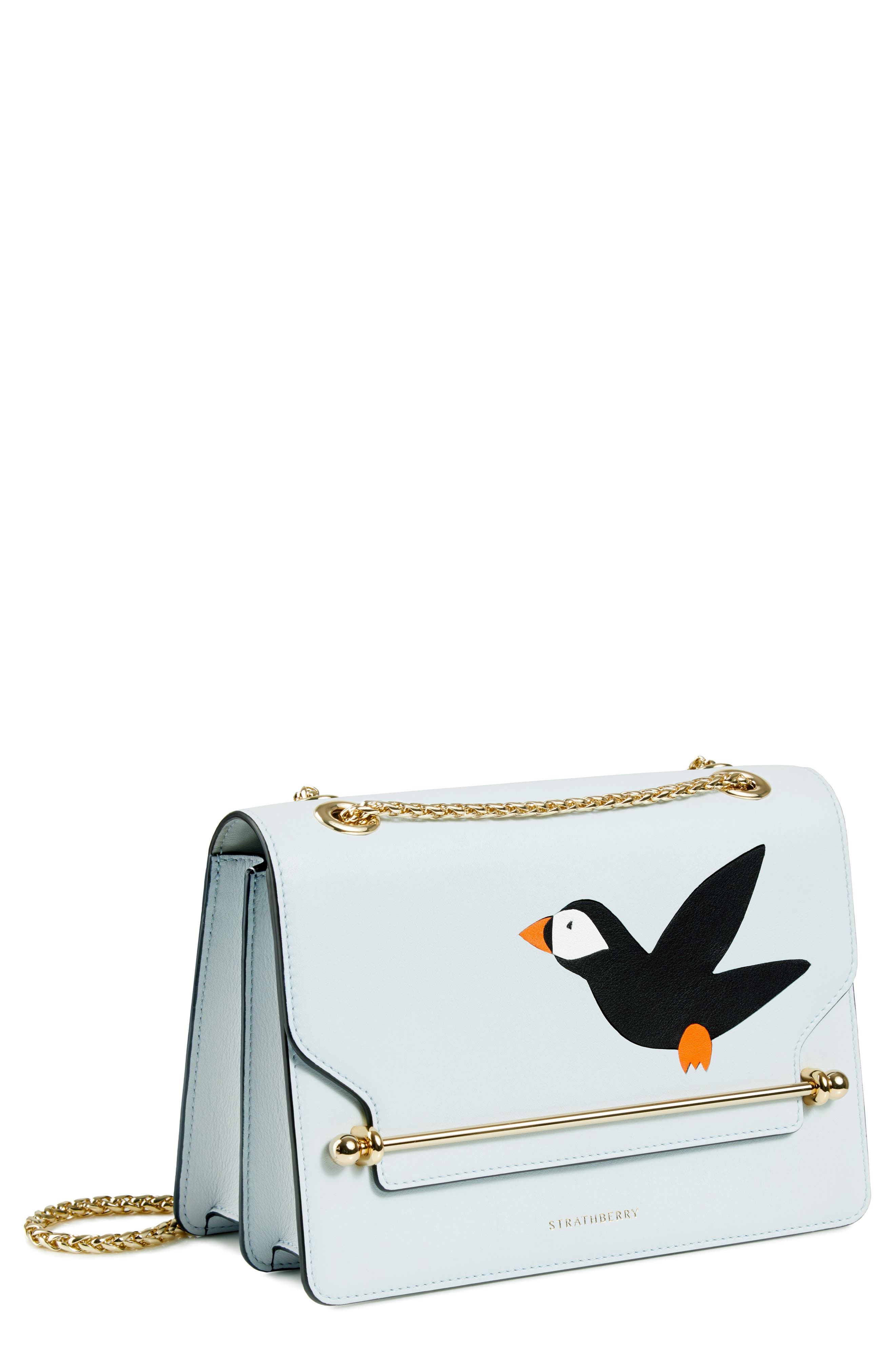 East/West Stylist Wild Puffin Leather Crossbody Bag, Main, color, ILLUSION BLUE