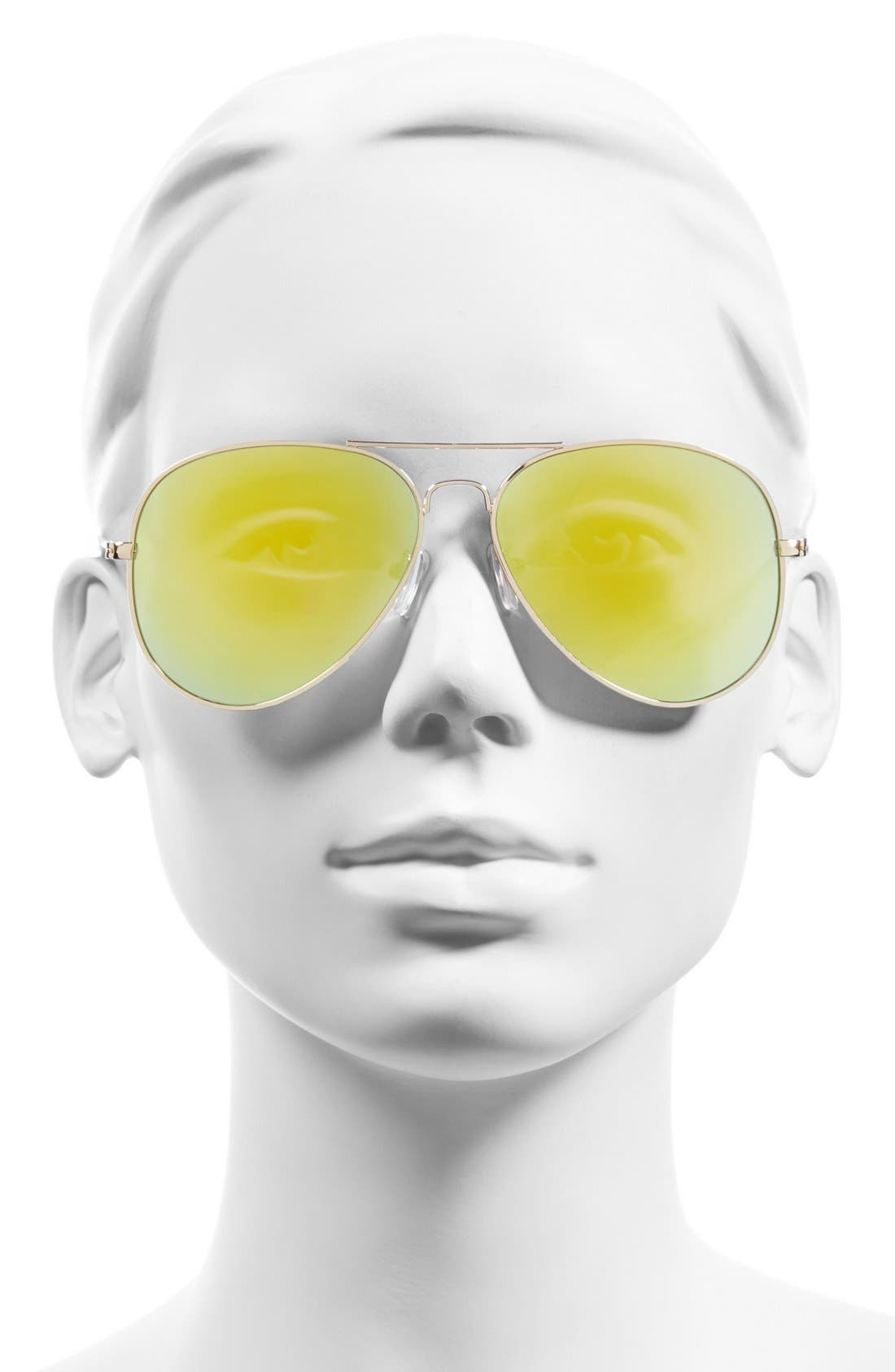 Mirrored Aviator 57mm Sunglasses,                             Alternate thumbnail 23, color,