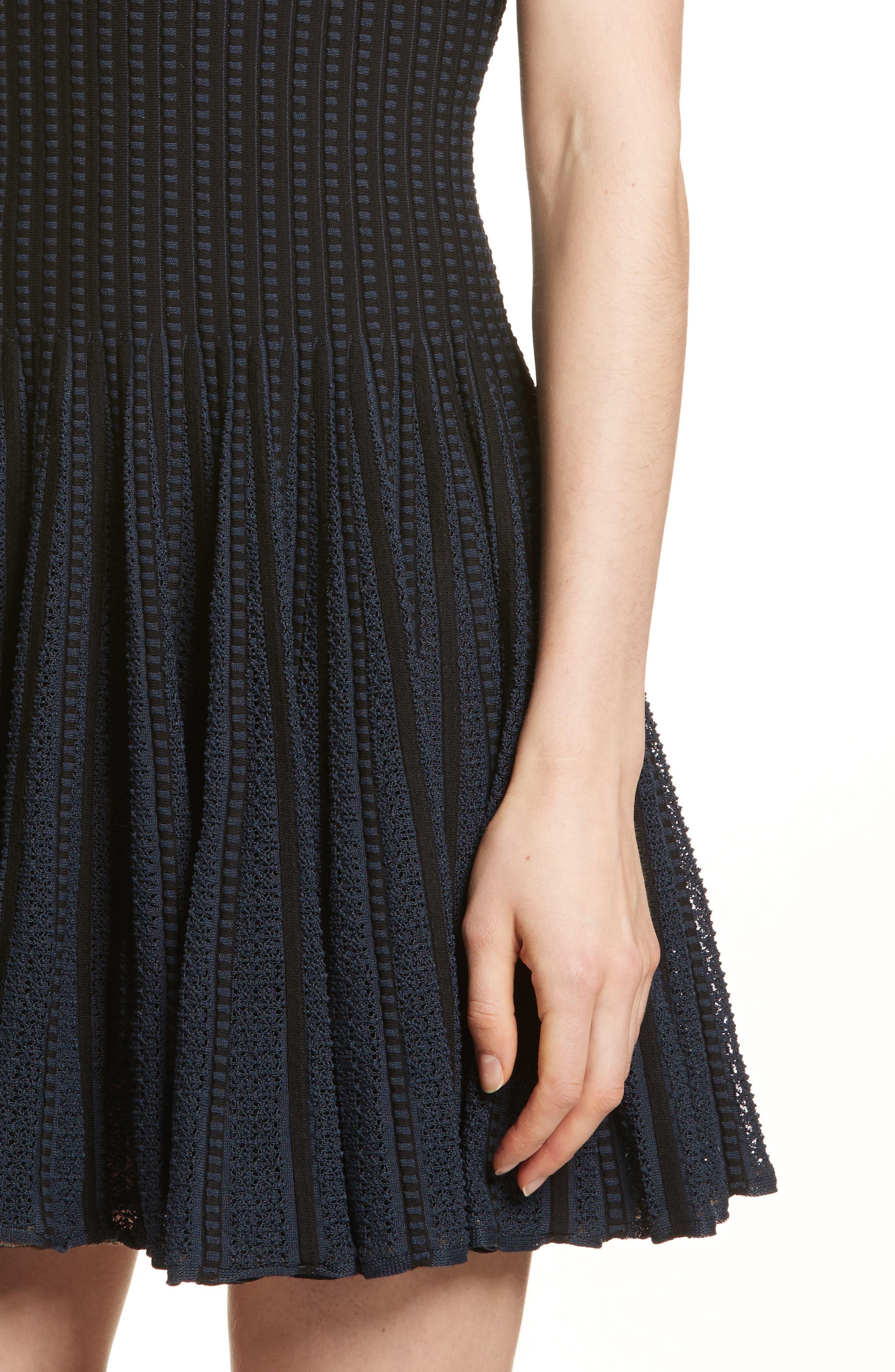 Check Knit Fit & Flare Dress,                             Alternate thumbnail 4, color,                             BLACK/ DEEP NAVY
