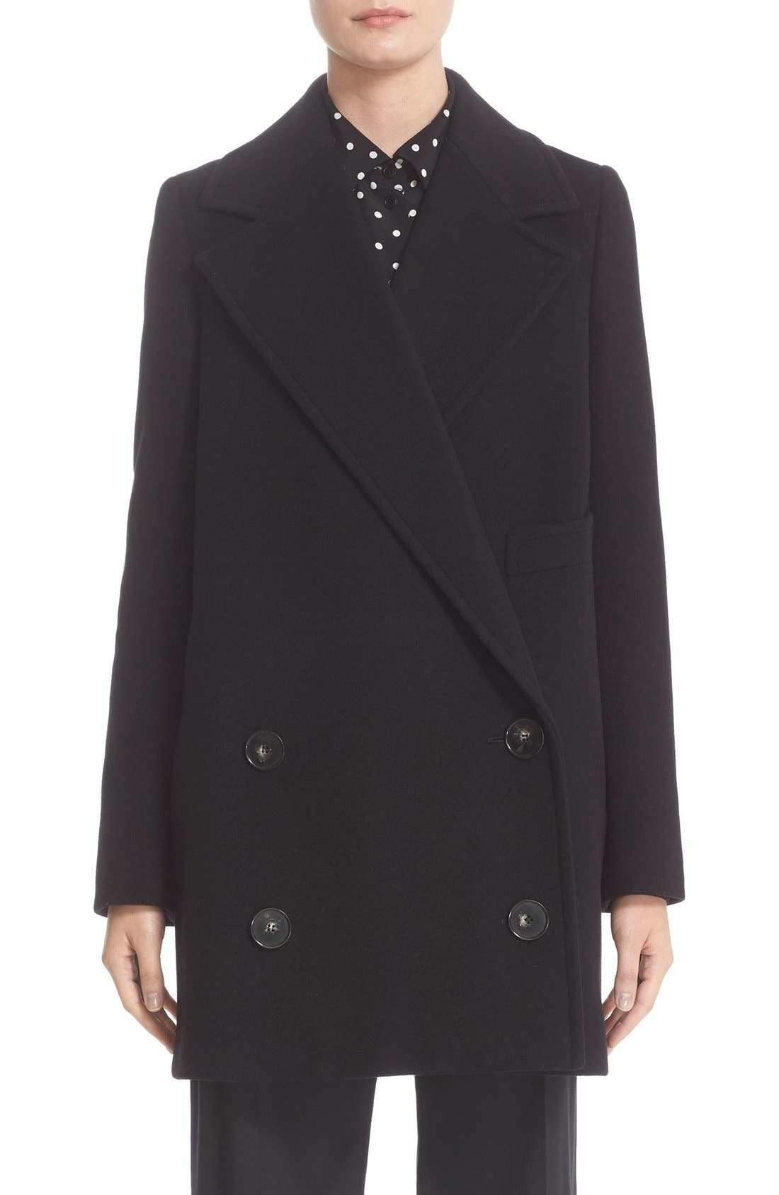'Edith' Double Breasted Wool Blend Coat,                         Main,                         color, 001