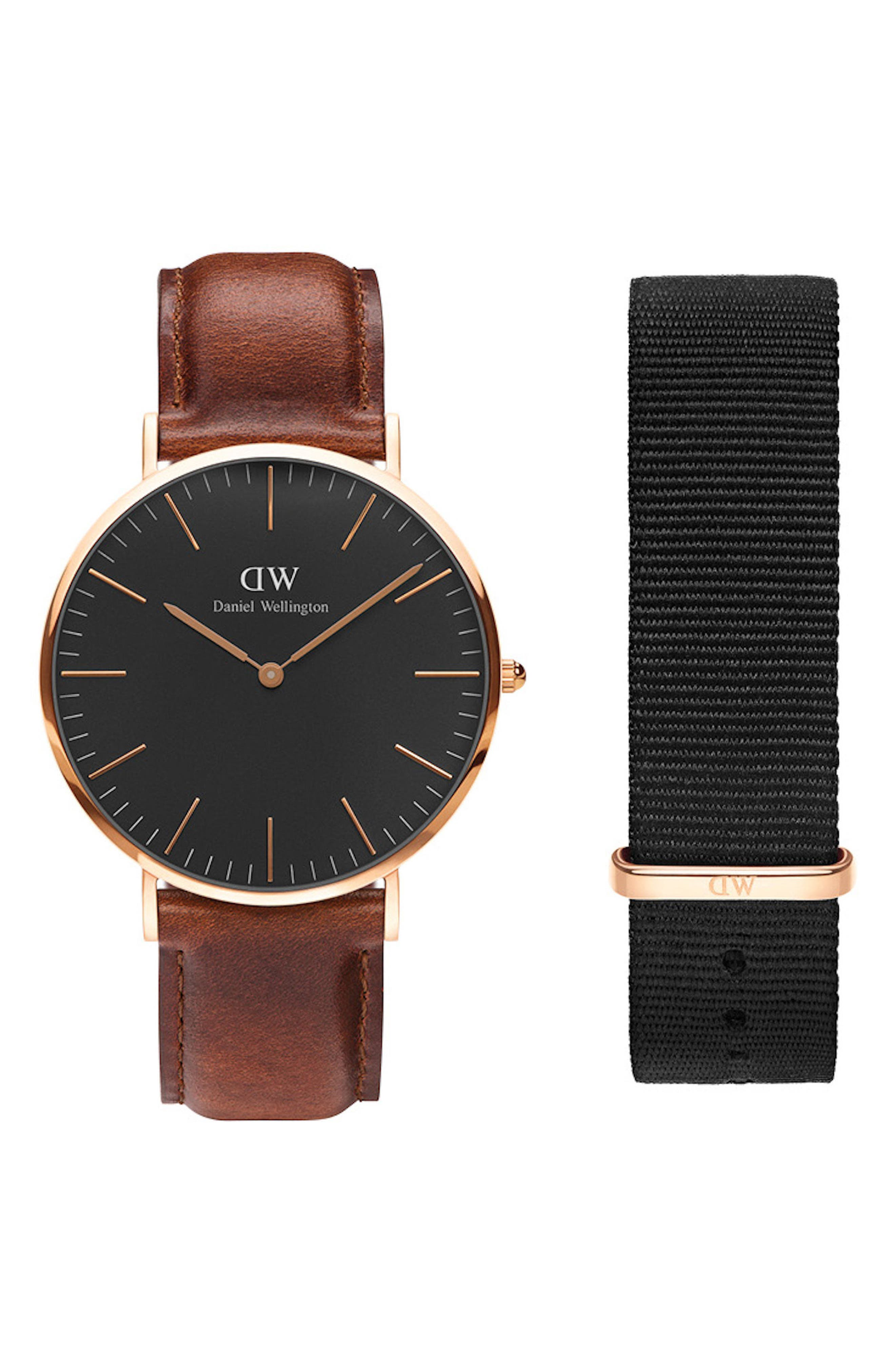 Classic Leather Strap Watch & Nylon Strap Gift Set, 40mm,                         Main,                         color, BROWN/ BLACK / ROSE GOLD