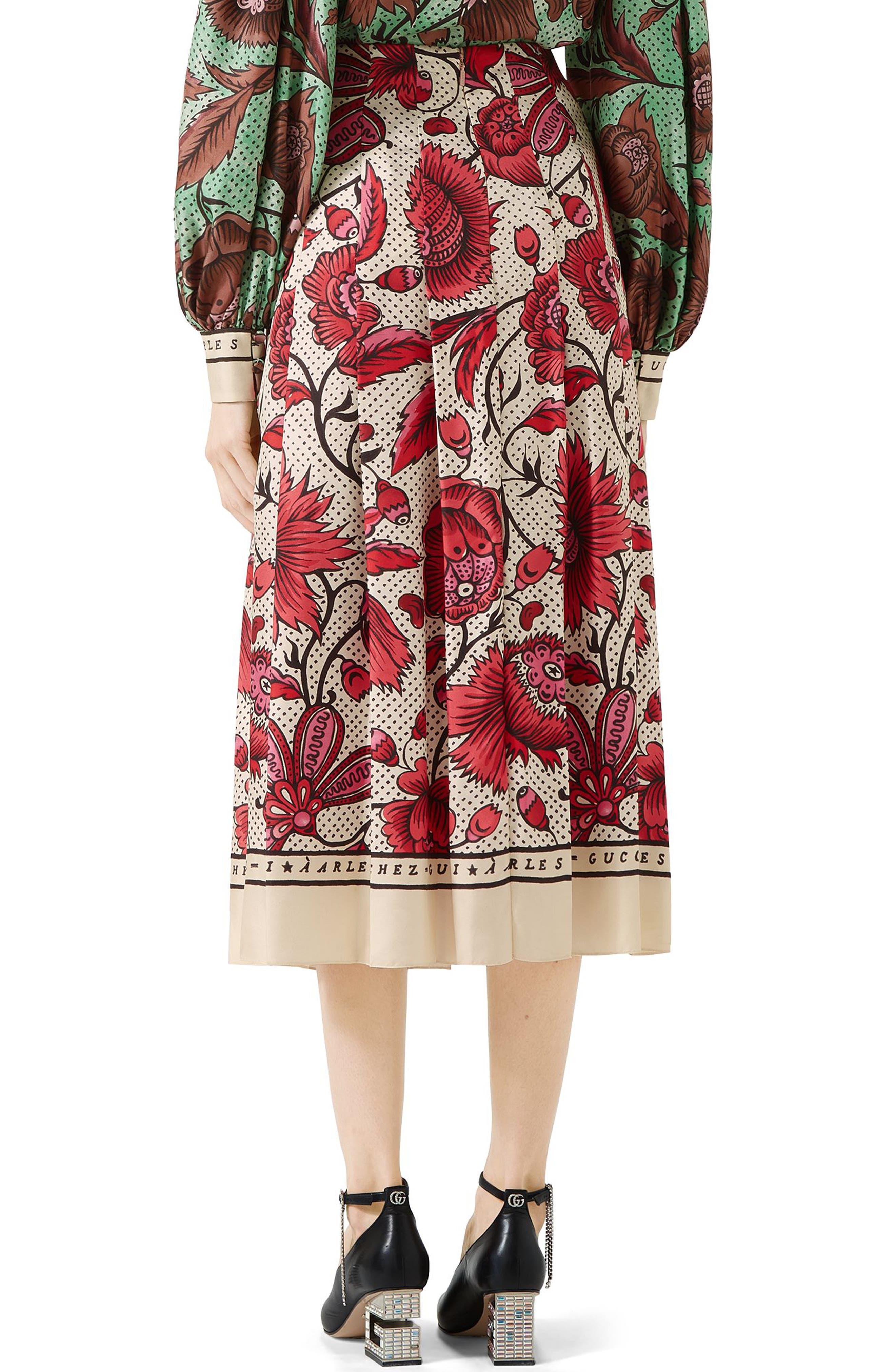 Watercolor Floral Print Pleated Silk Twill Midi Skirt,                             Alternate thumbnail 2, color,                             5349 FUCHSIA/ IVORY PRINTE