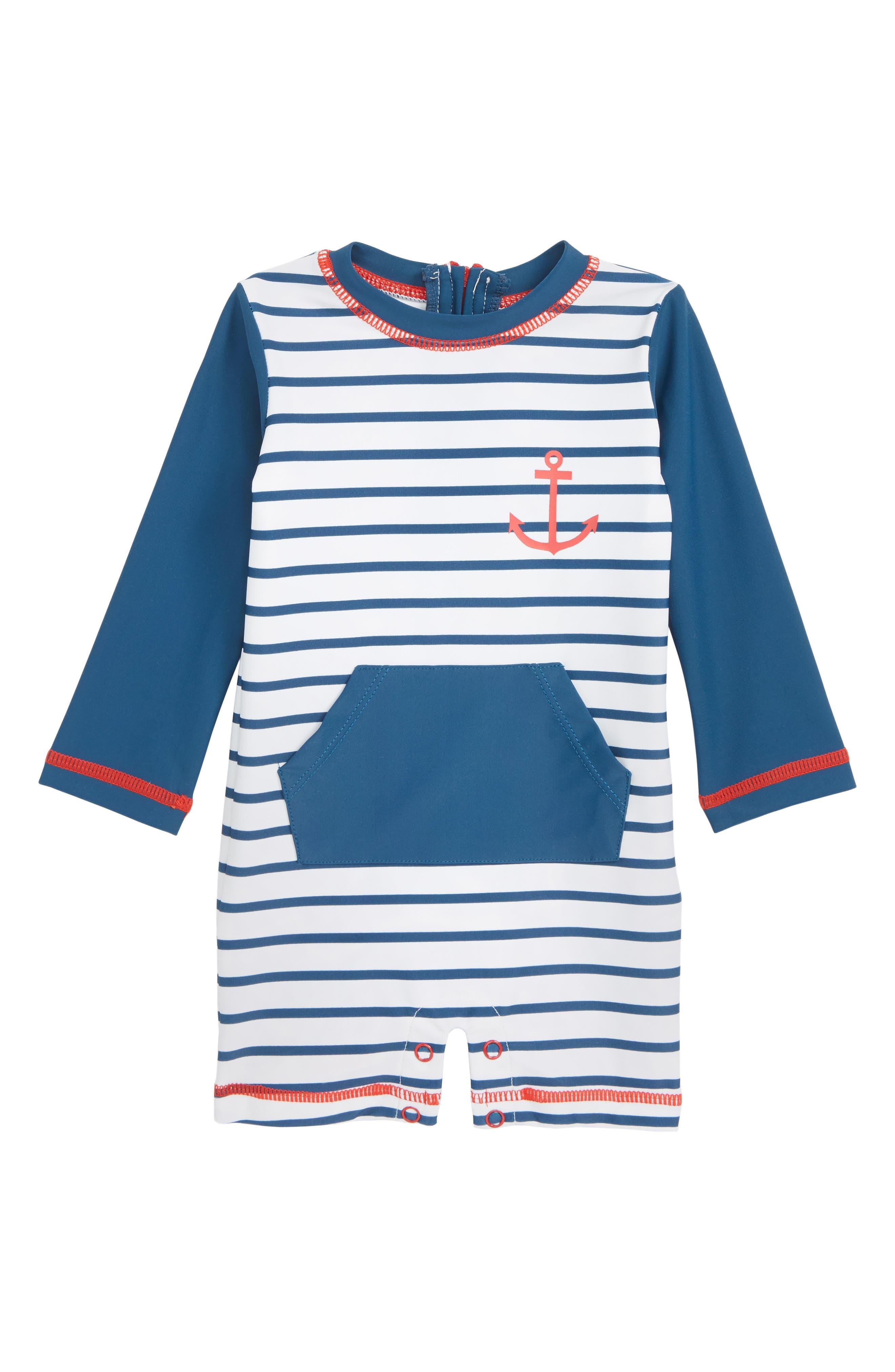 Nautical Stripes One-Piece Rashguard Swimsuit,                             Main thumbnail 1, color,                             WHITE