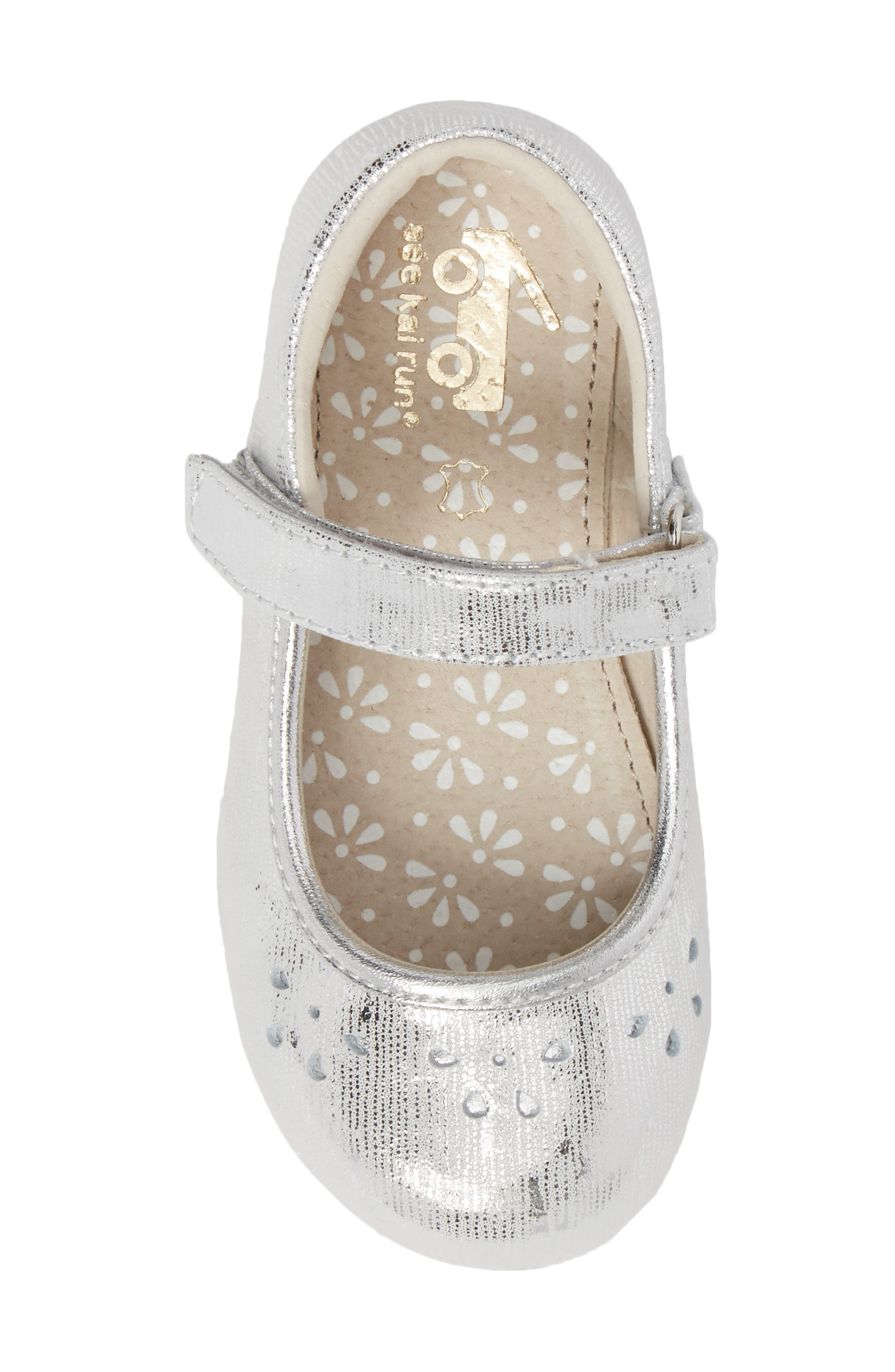 Ginger III Metallic Leather Mary Jane,                             Alternate thumbnail 5, color,                             SILVER