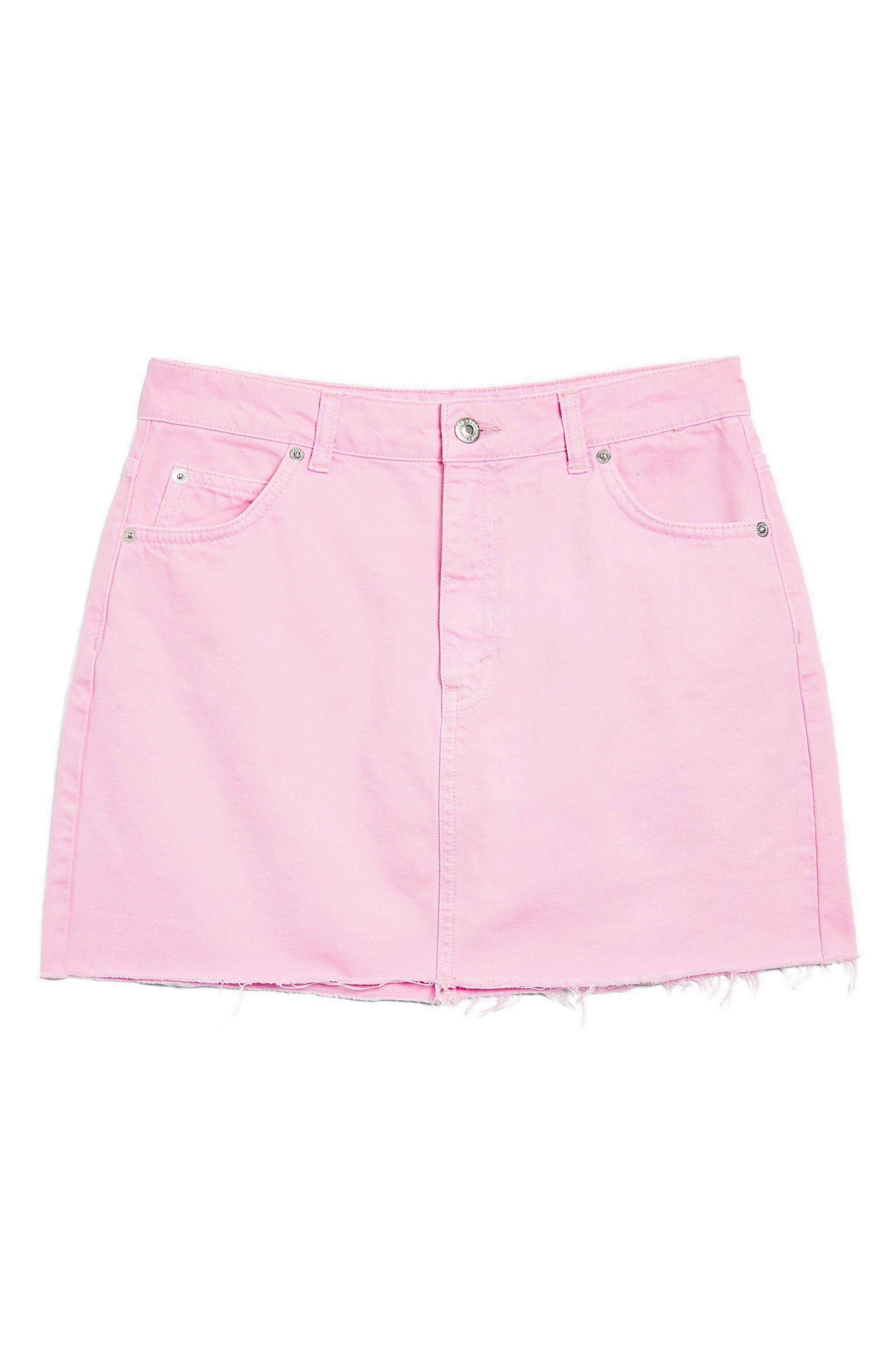 MOTO High Waist Denim Skirt,                             Alternate thumbnail 3, color,                             BUBBLEGUM