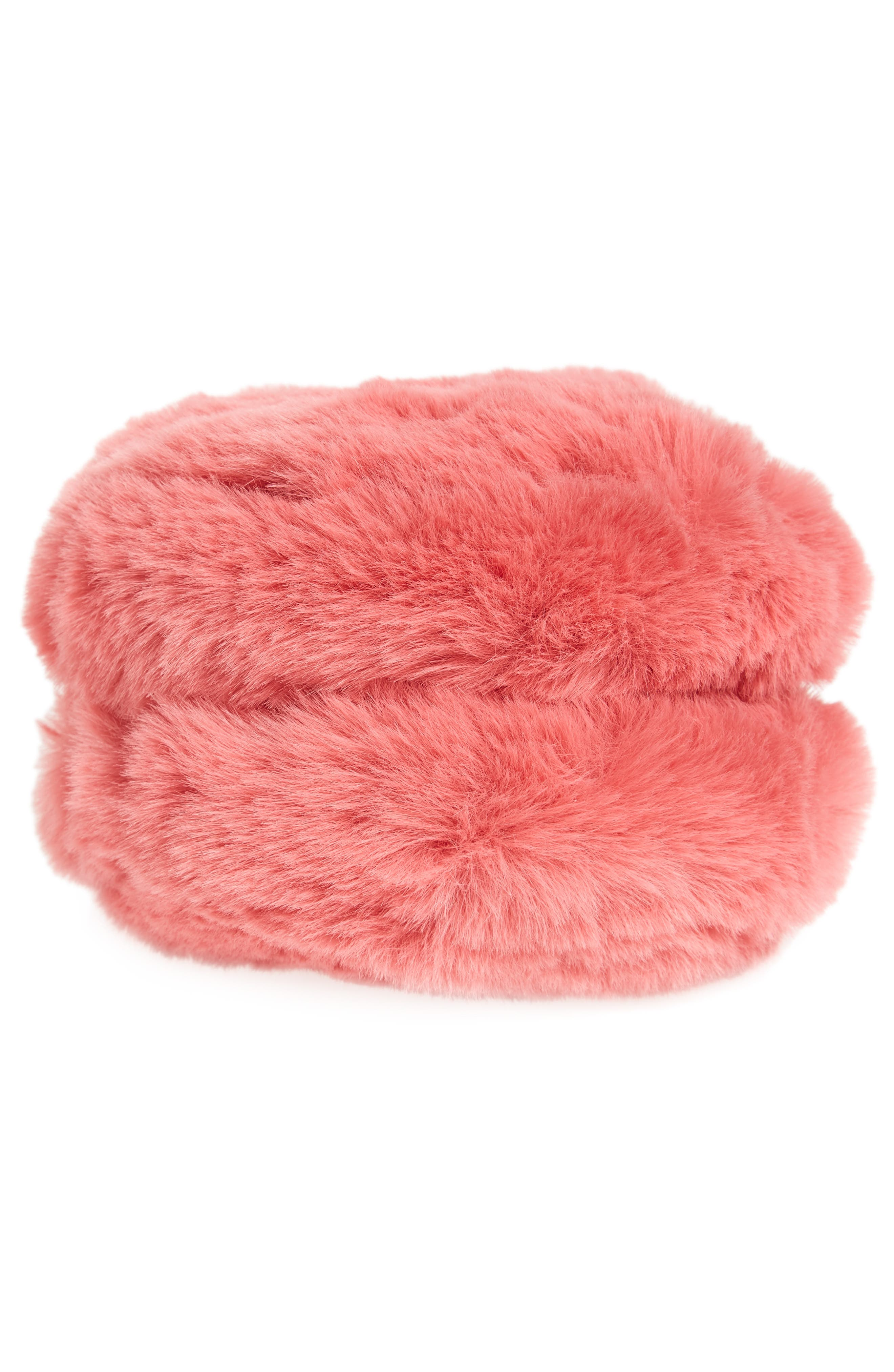 Macaron Faux Fur Wristlet,                             Alternate thumbnail 6, color,                             650