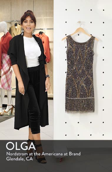 Beaded Fringe Hem Sheath Dress, sales video thumbnail