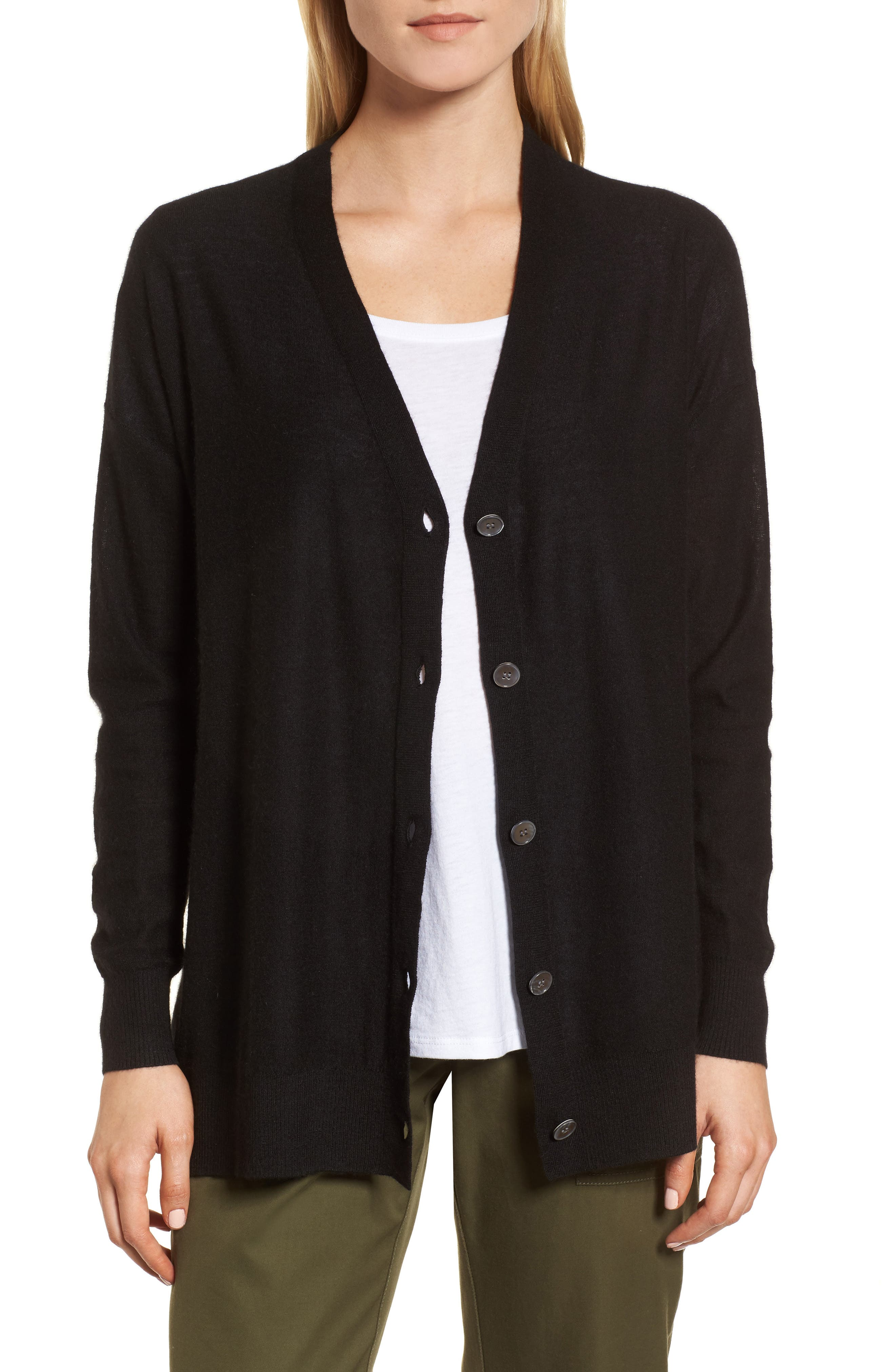 Button Front Cardigan,                         Main,                         color, 001