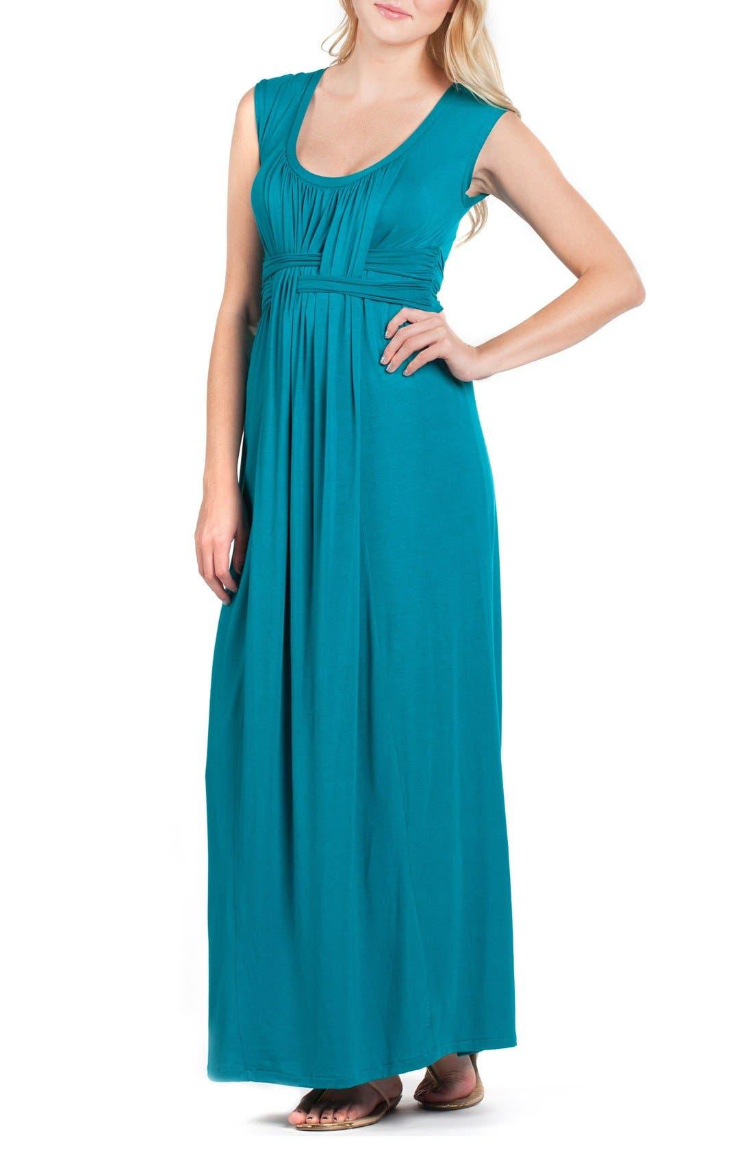 Athens Maternity/Nursing Maxi Dress,                             Alternate thumbnail 4, color,                             JADE