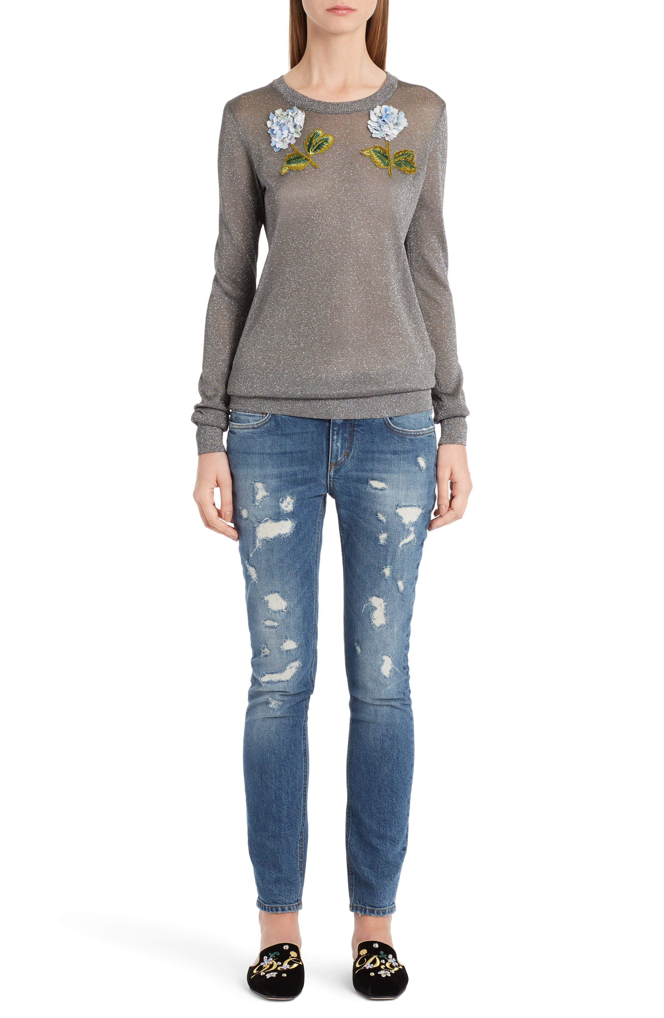 Embellished Metallic Sweater,                             Alternate thumbnail 6, color,                             040
