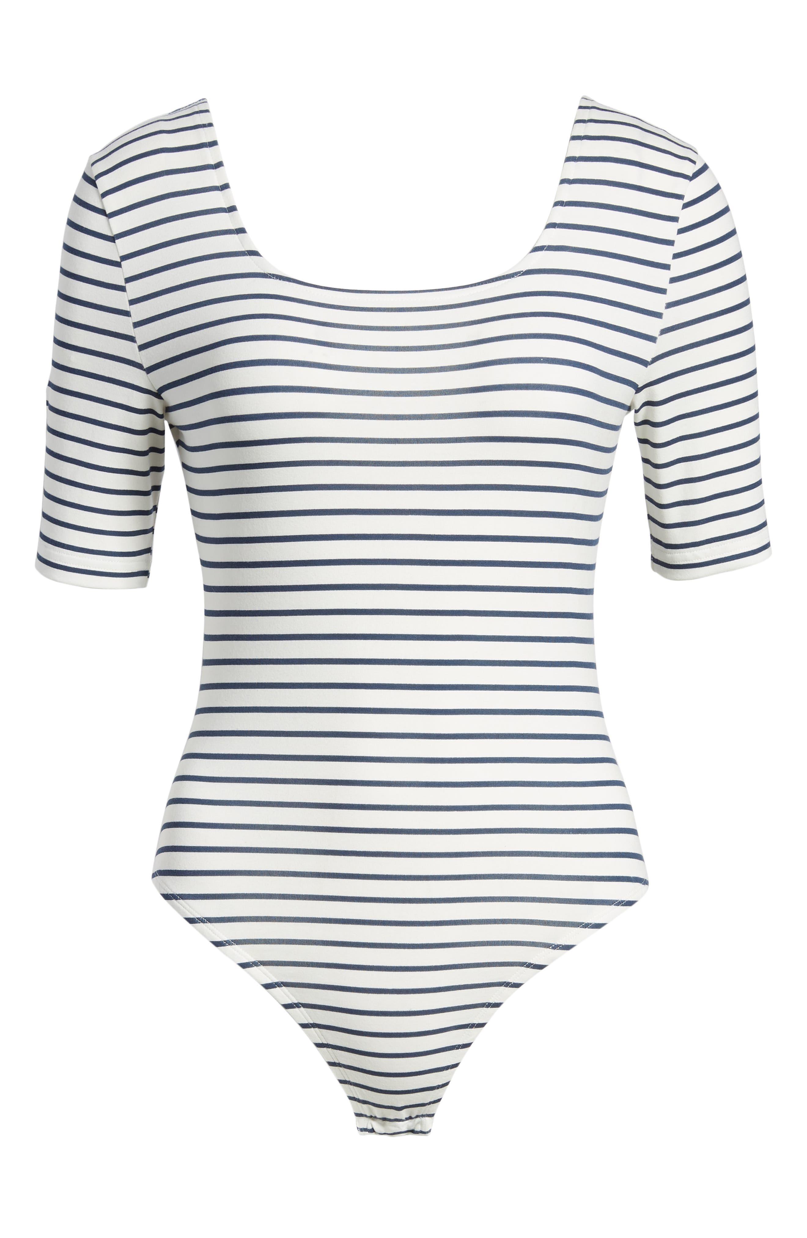 Stripe Square Neck Bodysuit,                             Alternate thumbnail 6, color,                             WHITE / NAVY STRIPE