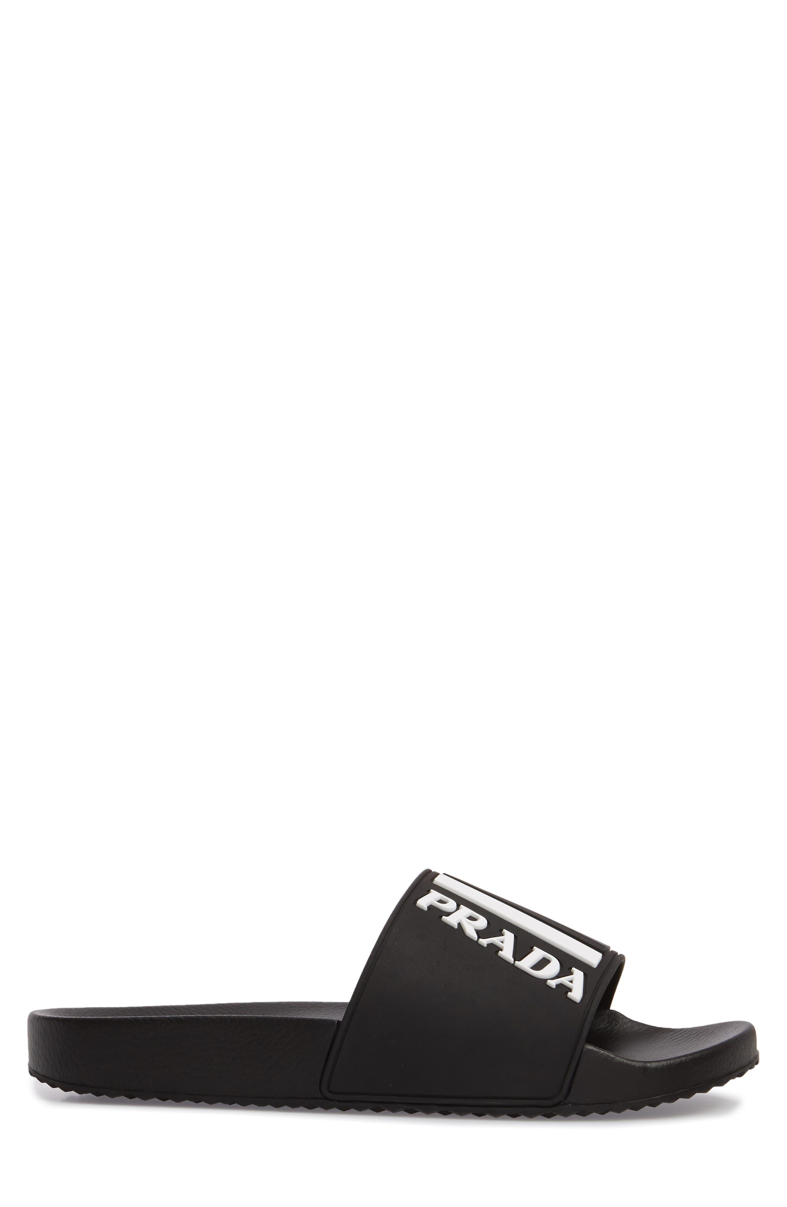 Linea Rossa Logo Slide Sandal,                             Alternate thumbnail 3, color,                             NERO BIANCO