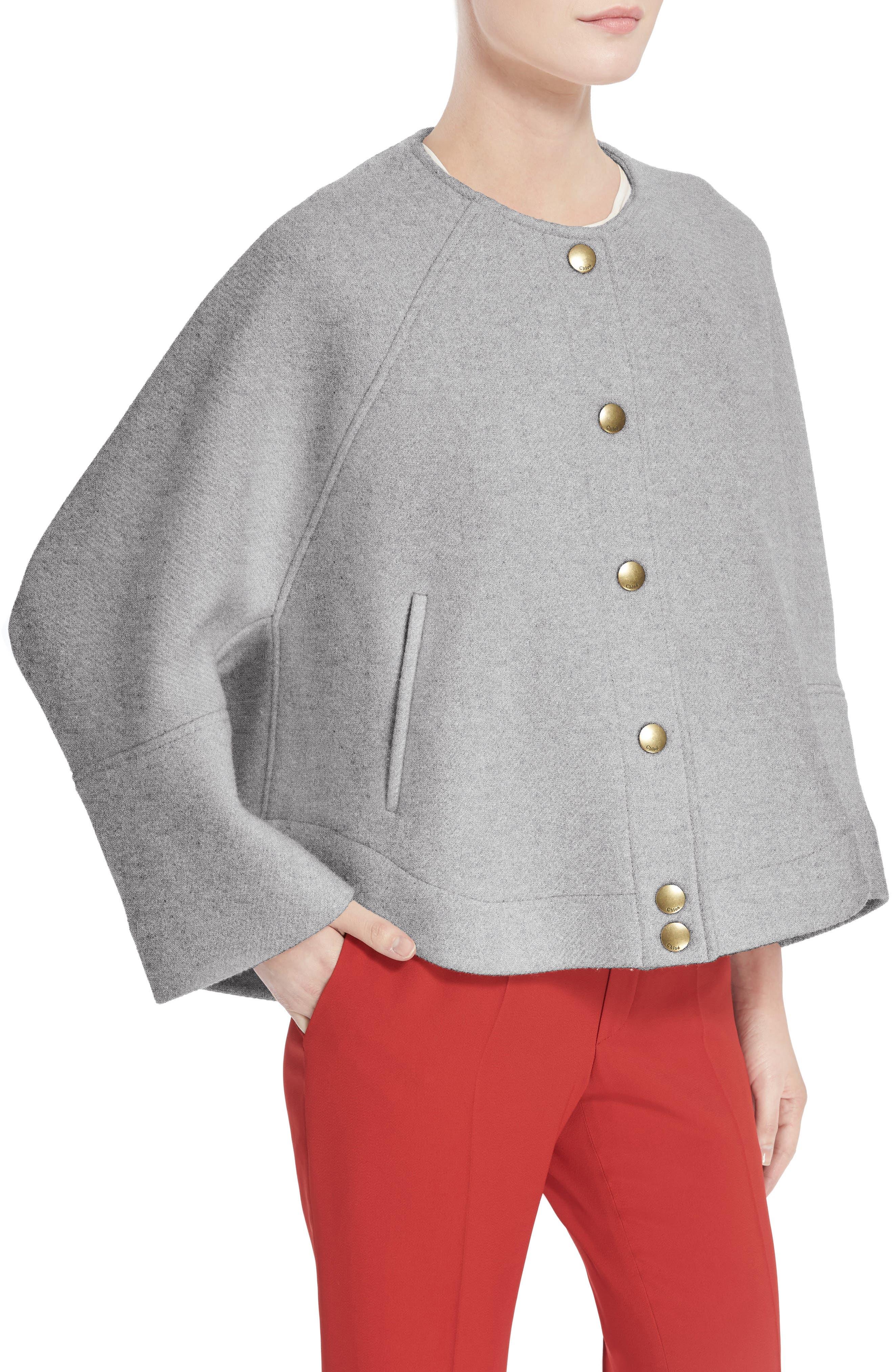 Wool Blend Baseball Jacket,                             Alternate thumbnail 4, color,